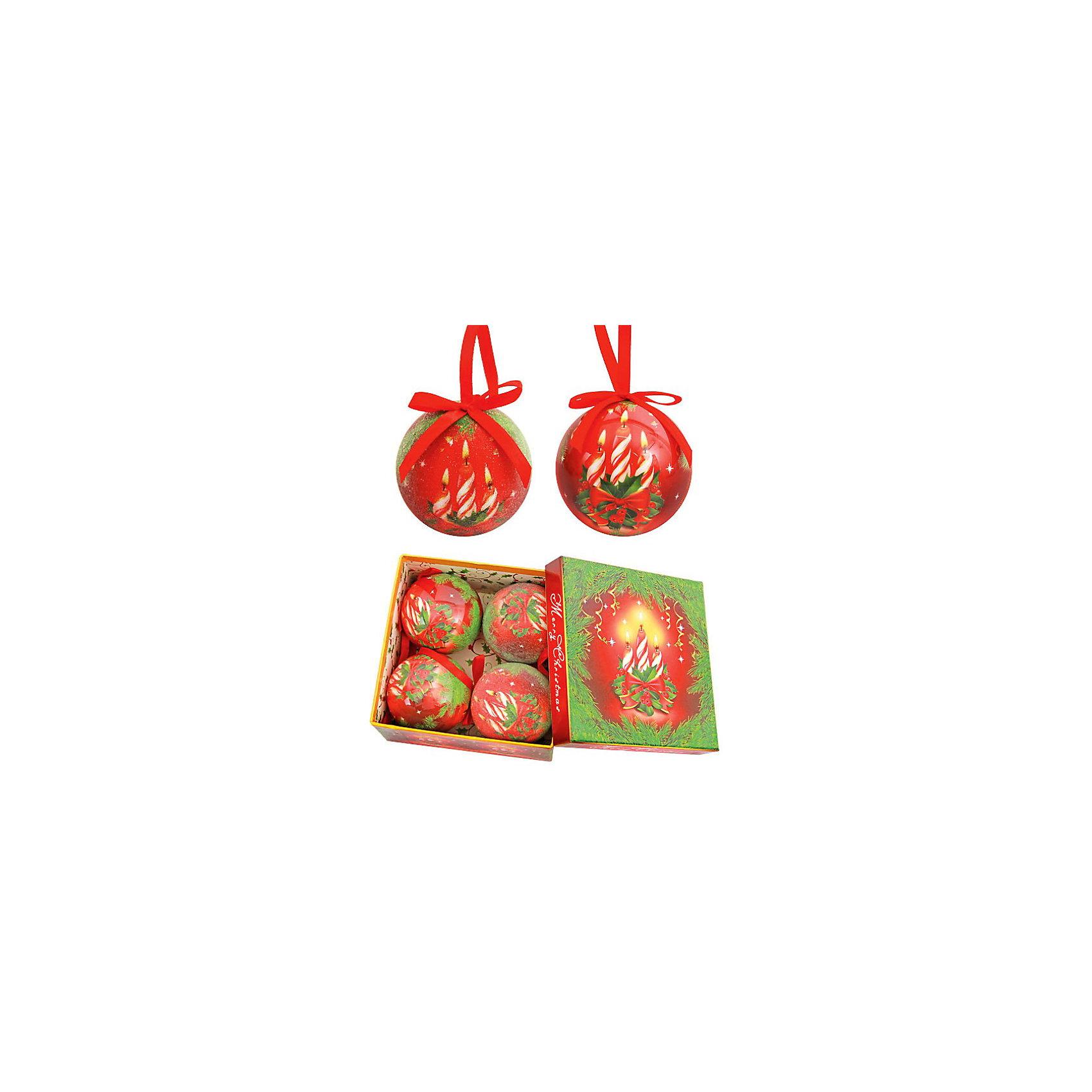 Набор елочных шаров Праздничные свечи, 4 шт, d=75 мм, в подарочной коробкеВсё для праздника<br>Набор елочных шаров Праздничные свечи, 4 шт, d=75 мм, в подарочной коробке станет прекрасным новогодним украшением для всей семьи! <br>Ваш малыш с удовольствием примет участие в украшении дома и проникнется атмосферой волшебства!<br><br>Дополнительная информация:<br><br>Яркие , красочные новогодние шары в подарочной упаковке. Шары изготовлены по технологии Папье-маше.  Не бьющиеся и очень легкие. В наборе 2 глянцевых и 2 обсыпных шара.<br><br>Поможет всей семье поверить в новогоднее чудо!<br>Легко приобрести в нашем интернет-магазине!<br><br>Ширина мм: 750<br>Глубина мм: 200<br>Высота мм: 100<br>Вес г: 266<br>Возраст от месяцев: 36<br>Возраст до месяцев: 144<br>Пол: Унисекс<br>Возраст: Детский<br>SKU: 3368290