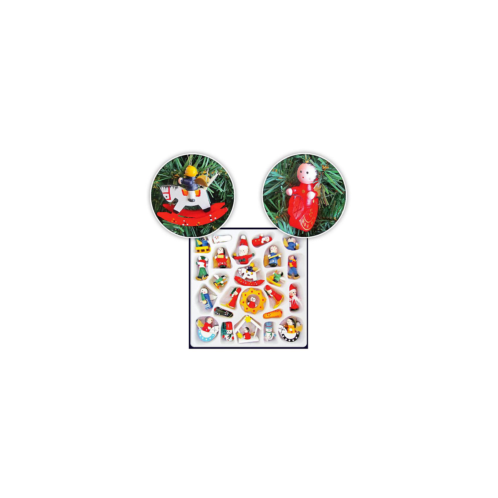 TUKZAR Набор деревянных ёлочных игрушек, 24х24 см, 24 предмета крючки для елочных игрушек в москве