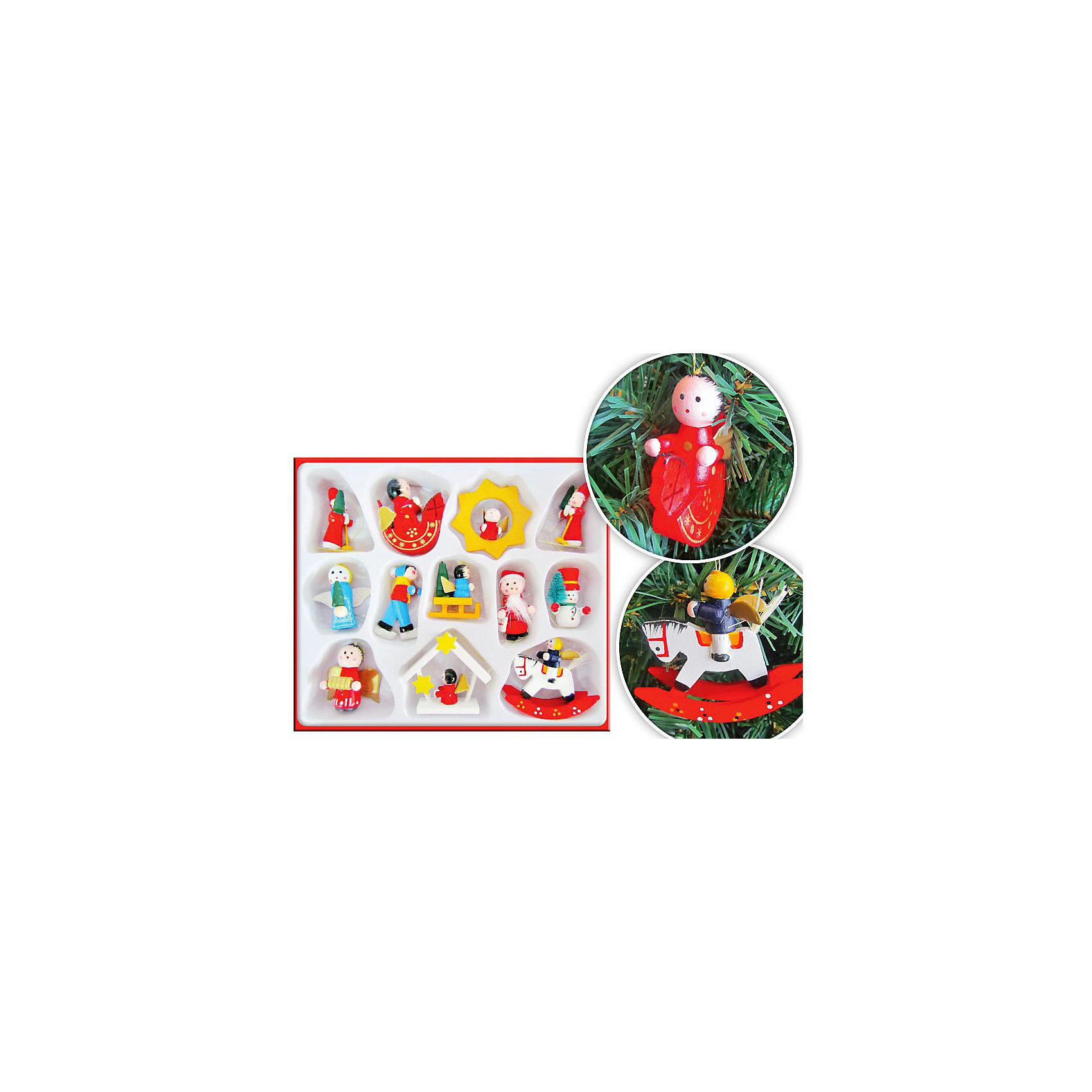Набор деревянных ёлочных игрушек, 12 предметов, TUKZARНабор деревянных ёлочных игрушек, Tukzar (Тукзар) замечательно украсит Вашу новогоднюю елку и поможет создать праздничную радостную атмосферу. Украшения выполнены в виде различных фигурок на новогоднюю тематику (Дед Мороз, снеговики, ангелочки и другие), они будут чудесно смотреться на елке и радовать детей и взрослых. В комплекте 12 игрушек, упакованных в картонную коробочку. <br><br>Дополнительная информация:<br><br>- В комплекте: 12 шт.<br>- Материал: дерево.<br>- Размер упаковки: 18 х 20 см.<br>- Вес: 96 гр.<br><br>Набор деревянных ёлочных игрушек, Tukzar (Тукзар) можно купить в нашем интернет-магазине.<br><br>Ширина мм: 180<br>Глубина мм: 200<br>Высота мм: 100<br>Вес г: 120<br>Возраст от месяцев: 36<br>Возраст до месяцев: 144<br>Пол: Унисекс<br>Возраст: Детский<br>SKU: 3368305