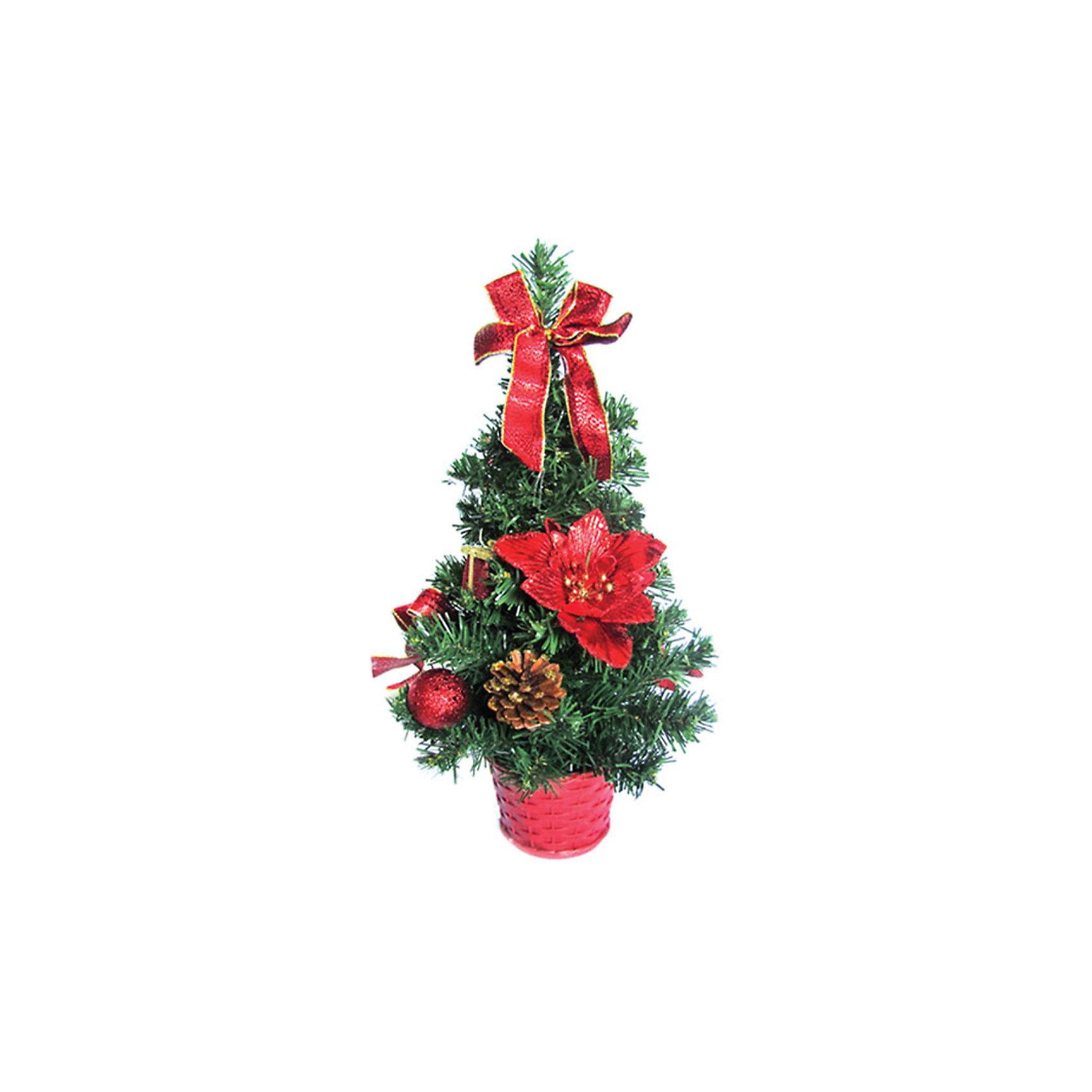 Елка декоративная с красными украшениями, 30 см