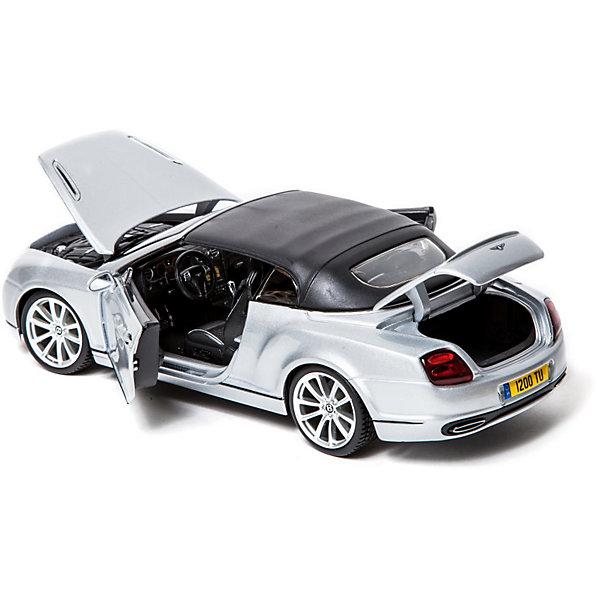 Машина BENTLEY Continental Supersports металл., 1:18 BburagoМашинки<br>Машина BENTLEY Continental Supersports металл., 1:18 Bburago (Бураго).<br>Компания Bburago – мировой лидер в производстве коллекционных  моделей автомобилей.  <br>Более 30 лет профессиональные дизайнеры Bburago разрабатывают точные копии современных машин и ретро машин известных марок.  <br><br>Continental Supersports – это самый мощный кабриолет Bentley в истории человечества.<br>Мировой рекорд скорости на льду установлен  четырехкратным чемпионом мира по авторалли из Финляндии Юхой Канккуненом за рулем кабриолета Bentley Continental Supersports, с полным приводом, работающего на биотопливе.  Канккунен сумел достичь на опасном льду Балтийского моря, у побережья Финляндии, скорости в 205,48 мили/час (330,695 км/час).<br>Коллекционная модель с точностью повторяет все детали внешнего облика настоящего автомобиля.<br><br>Функциональность игрушки:<br>- двухдверный четырехместный кабриолет создан в масштабе 1:18<br>- у модели вращается руль, открываются двери и капот<br><br>Машина BENTLEY Continental Supersports  Bburago станет прекрасным подарком для коллекционеров!<br><br>Дополнительная информация:<br><br>- Материал: Металл<br>- Цвет: серебристый<br>- Размеры упаковки: 29,6 х 20 х 12 см<br>- Размеры игрушки: 22,5 см<br>- Вес: 1,03 кг.<br><br>Игрушку Машина BENTLEY Continental Supersports металл., 1:18 Bburago можно купить в нашем интернет-магазине.<br>Ширина мм: 296; Глубина мм: 120; Высота мм: 200; Вес г: 1030; Возраст от месяцев: 144; Возраст до месяцев: 1164; Пол: Мужской; Возраст: Детский; SKU: 3369434;