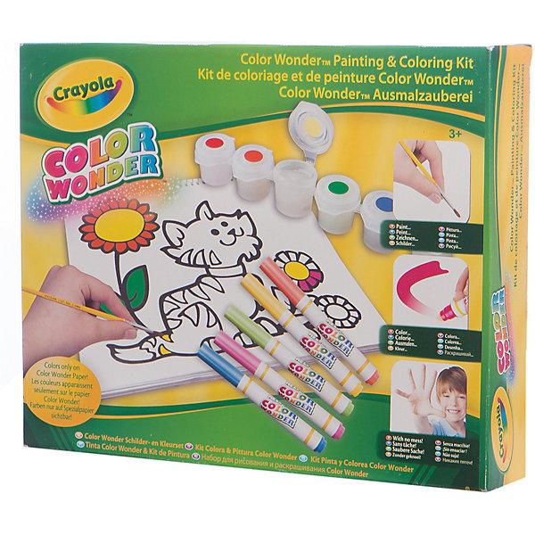 Набор для рисования и раскрашивания Color Wonder, CrayolaНаборы для раскрашивания<br>Набор для рисования и раскрашивания Color Wonder, Crayola.<br><br>Этот набор позволяет маленькому художнику рисовать красками и фломастерами, а также раскрашивать без пятен и грязи. Цвета проявляются только на специальной бумаге Color Wonder! Выбери готовый рисунок или создай свою картину! <br><br>Содержимое набора: 1 мини-раскраска, 1 альбом для рисования, 5 фломастеров Color Wonder, 6 красок Color Wonder (53 мл всего), 1 кисточка.  <br><br>Для достижения лучших результатов при использовании красок Color Wonder, наносите краски на поверхность бумаги Color Wonder тонким слоем. Удаляйте излишки краски при помощи бумажной салфетки.<br><br>Станет прекрасным подарком любому малышу!<br>Можно легко приобрести в нашем интернет магазине<br><br>Ширина мм: 320<br>Глубина мм: 60<br>Высота мм: 255<br>Вес г: 500<br>Возраст от месяцев: 36<br>Возраст до месяцев: 60<br>Пол: Унисекс<br>Возраст: Детский<br>SKU: 3371785