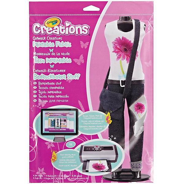 Подиум Ткань для принтов, CrayolaШитьё<br>Подиум Ткань для принтов, Crayola.<br><br>Размер упаковки: 34х23.5 см. <br>Набор для творчества подиум Ткань для принтов от компании Crayola станет прекрасным подарком для девочки, увлеченной миром моды и дизайном одежды.<br>В набор входит: 4 листа формата А4.<br><br>Станет прекрасным подарком любому малышу!<br>Можно легко приобрести в нашем интернет магазине<br><br>Ширина мм: 340<br>Глубина мм: 235<br>Высота мм: 4<br>Вес г: 70<br>Возраст от месяцев: 72<br>Возраст до месяцев: 84<br>Пол: Унисекс<br>Возраст: Детский<br>SKU: 3371787