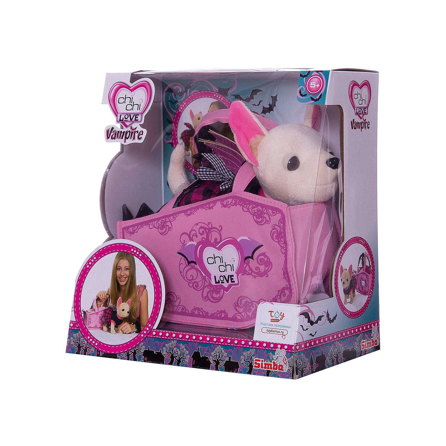 Плюшевая собачка Вампирчик, Chi Chi LoveПлюшевая собачка Вампирчик в платье с крылышками — плюшевый щенок Чихуахуа из популярной серии  Chi Chi Love (Чи Чи Лав) от Simba. Плюшевая собачка одета в модное черное платье с розовой отделкой. Сверху наряда расположены крылышки летучей мыши. Собачку Chi Chi Love очень удобно брать с собой на прогулки, ведь в комплекте с ней есть тематическая сумочка, украшенная витиеватым узором. У собачки гибкие лапки и мягкая шерстка.<br><br>Плюшевая собачка Chi Chi Love Вампирчик обязательно очарует свою хозяйку и станет для нее не только хорошим питомцем, но и отличным другом!<br><br>Дополнительная информация:<br><br>- В комплекте: Плюшевая собачка Вампирчик, платье с крылышками, сумочка.<br>- Материал: пластик, текстиль<br>- Длина игрушки: 20 см.<br>- Размеры упаковки: (Д)29 Х (Ш)16.5 Х(В)31 см<br><br>Игрушку Плюшевая собачка Вампирчик, Simba можно купить в нашем интернет-магазине.<br><br>Ширина мм: 290<br>Глубина мм: 175<br>Высота мм: 300<br>Вес г: 550<br>Возраст от месяцев: 60<br>Возраст до месяцев: 120<br>Пол: Женский<br>Возраст: Детский<br>SKU: 3373371