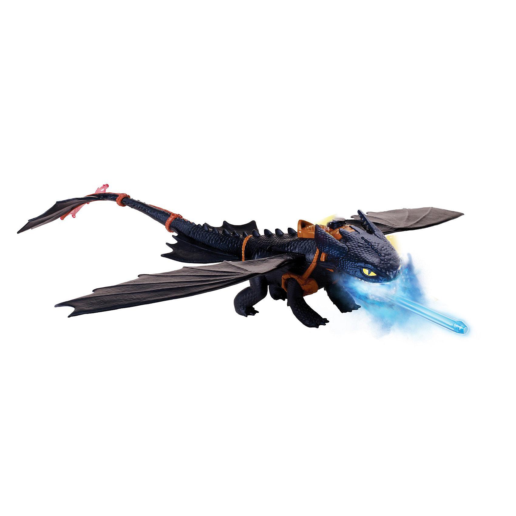 Большой дракон Беззубик, Spin MasterБольшой дракон Беззубик, Spin Master (Спин Мастер) - это самая большая версия главного героя мультипликационного фильма студии DreamWorks «Как приручить дракона». <br><br>Дракон Беззубик умеет «дышать огнем» и запускать стрелы. На спине дракона под крышкой есть специальное отверстие, залейте в него с помощью специального водяного насоса (входит в комплект) воду, затем нажмите на ушко дракона-пасть дракона приоткроется и появится водяной пар подсвечиваемый синим цветом. Крылья дракона подвижные: можно сложить на спине или расправить для полета.<br><br>Характеристики:<br>-большой дракон Беззубик способен «дышать огнем» и метать снаряды <br>-снаряды в темноте светятся<br>-в процессе игры с такой игрушкой развивается моторика рук, фантазия и мышление<br>-«холодный пар», выпускаемый драконом, абсолютно безвреден и образуется из простой водопроводной воды<br><br>Комплектация:<br>-дракон, состоящий из туловища и отдельно присоединяемого хвоста<br>-2 снаряда<br>-специальный паровой картридж<br>-водяной насос<br><br>Дополнительная информация:<br><br>-размах крыльев: 55см<br>-размер (ДхШхВ): 41х30х10 см<br>-батарейки: 3хААА (в набор не входят)<br>-изготовлен Беззубик из высококачественного плотного пластика и резины<br><br>Любители мультфильма будут в восторге от этой игрушки! Порадуйте свое чадо таким прекрасным подарком!<br><br>Игрушку Большой дракон Беззубик, Spin Master (Спин Мастер) можно купить в нашем интернет-магазине.<br><br>Ширина мм: 411<br>Глубина мм: 302<br>Высота мм: 109<br>Вес г: 681<br>Возраст от месяцев: 36<br>Возраст до месяцев: 96<br>Пол: Мужской<br>Возраст: Детский<br>SKU: 3373925