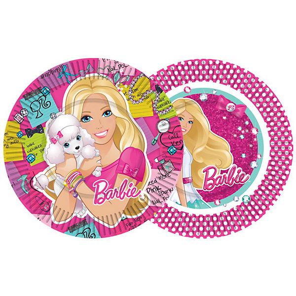 Тарелка бумажная Модница Barbie, 10шт., в ассортиментеBarbie<br>Тарелка одноразовая бумажная с  глянцевым ламинированием. <br>Диаметр 18см.<br>1 упаковка содержит 10шт. Цена указана за 1 упаковку.<br>Серия: Barbie (Барби)<br>Внимание! Данный товар имеет 2 дизайна и поставляется в ассортименте. Заранее выбрать понравившийся дизайн невозможно. При заказе двух и более наборов возможно получение одинаковых.<br><br>Ширина мм: 180<br>Глубина мм: 180<br>Высота мм: 25<br>Вес г: 90<br>Возраст от месяцев: 36<br>Возраст до месяцев: 96<br>Пол: Женский<br>Возраст: Детский<br>SKU: 3375197