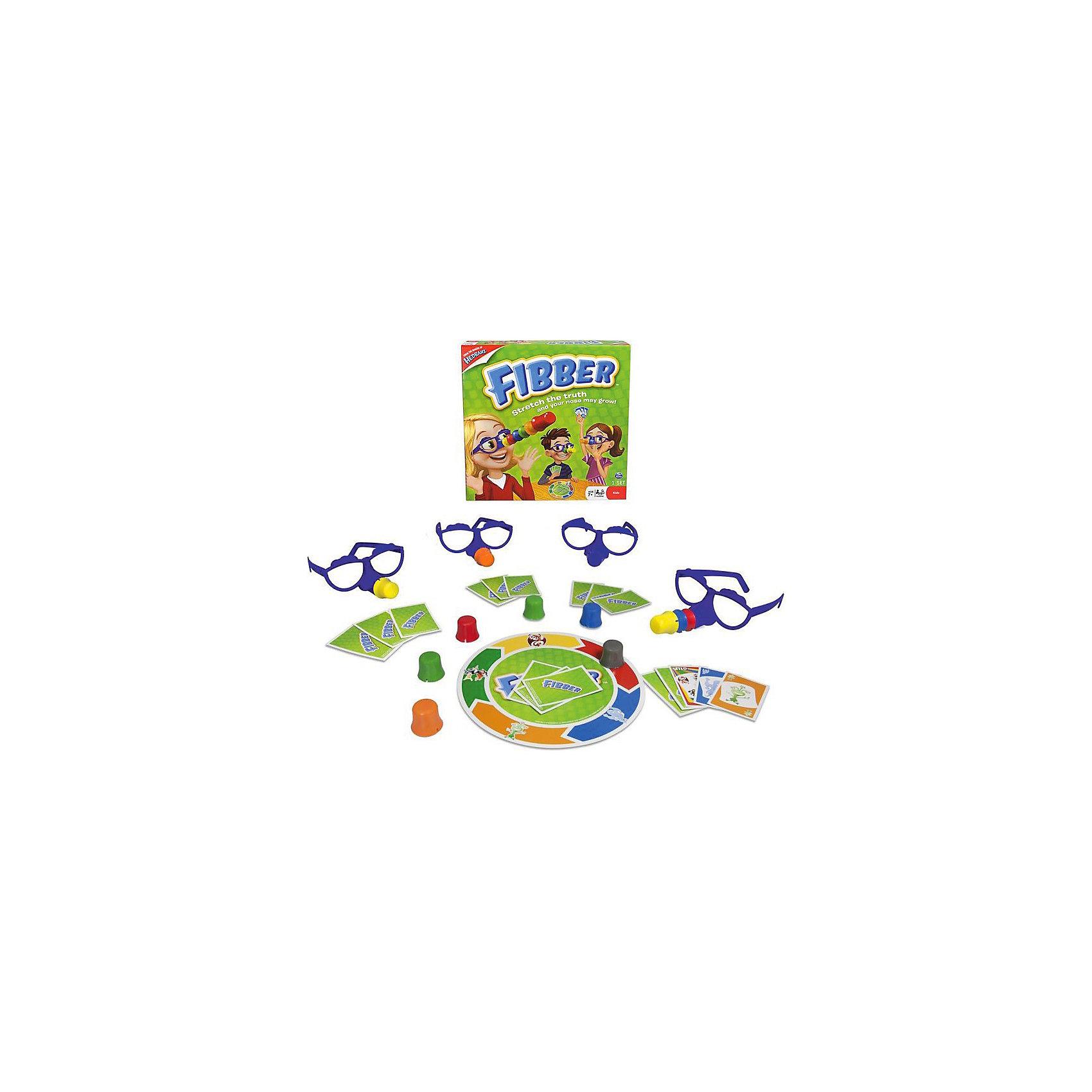 Настольная игра FIBBER, Spin MasterНастольные игры для всей семьи<br>Настольная игра FIBBER (Фиббер) от Spinmaster – веселая карточная игра для детей и взрослых. В переводе с английского Fibber означает «врунишка, обманщик». <br><br>Задача всех игроков «поймать» Фиббера, если он говорит неправду. <br><br>Как играть:<br><br>- на игровом поле нарисован большой круг, а по его окружности расположено пять цветных участков. На каждом участке определенного цвета нарисован персонаж: обезьяна, привидение, дракон, ведьма, монстр<br>- разделите карты поровну между участниками<br>- игроки делают ход по очереди. Необходимо положить в зеленый круг некоторое количество карточек. Они должны быть такого же цвета и с такой же картинкой как на игровом поле, а могут и не быть <br>- если участники верят игроку, положившему карточку, то ход передается дальше. Если же нет, то его карточки переворачиваются на всеобщее обозрение<br>- участник схитрил? Тогда он забирает себе все карты и надевает цветной нос.<br>- участник оказался честным? Игра продолжается<br>- выигрывает тот, у кого оказался самый короткий нос.<br><br>Веселье и отличное настроение гарантировано всем участникам!<br><br>Дополнительная информация:<br><br>- В комплекте: игровое поле, 4 пары очков, 24 карты, 11 смешных носов, правила игры.<br>- Размер(ДхШхВ), см: 26,5 х 5 х 26,5<br>- Вес: 525 г.<br><br>Настольную игру  FIBBER, Spin Master можно купить в нашем интернет-магазине<br><br>Ширина мм: 265<br>Глубина мм: 50<br>Высота мм: 265<br>Вес г: 525<br>Возраст от месяцев: 84<br>Возраст до месяцев: 192<br>Пол: Унисекс<br>Возраст: Детский<br>SKU: 3375356