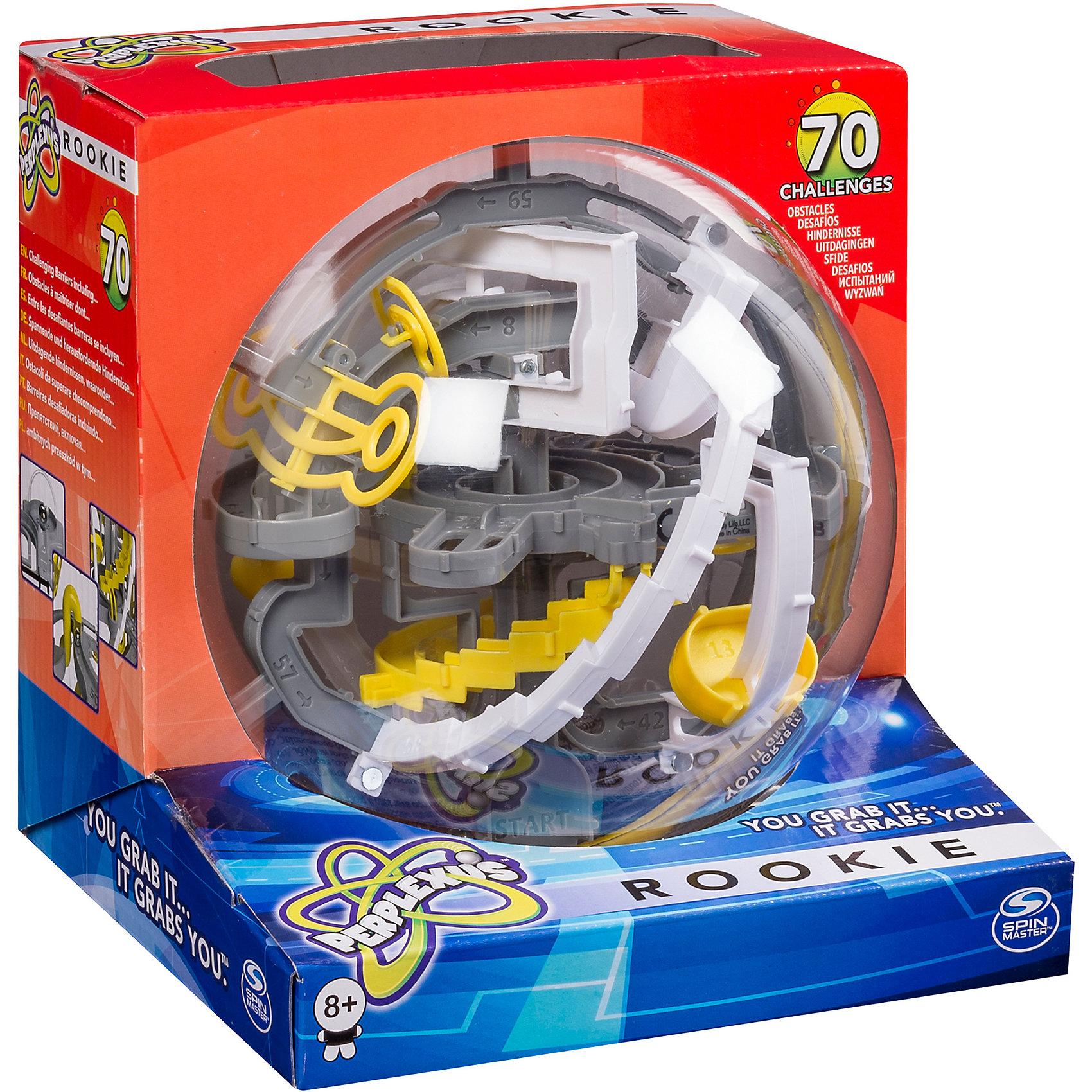Головоломка Perplexus Rookie, 70 барьеров, Spin Master (цвет серо-белый)Головоломки<br>Головоломка Perplexus Rookie (Перплексус Роки)– прозрачный шар, внутри которого находится лабиринт с 70 барьерами, которые нужно преодолеть металлическим шариком. Цель игры  – провести металлический шарик от начала и до конца лабиринта.<br>Шарик-лабиринт головоломку для детей нужно поворачивать в руках, чтобы проходить лабиринт, при этом поворачивать шар нужно аккуратно, чтобы металлический шарик не упал из одного из пройденных этапов. <br>Игра головоломка для детей развивает логическое мышление, координацию движений. <br><br>Головоломка Perplexus Rookie надолго увлечет вашего ребенка!<br><br>Дополнительная информация:<br><br>- Размер(ДхШхВ), см: 17,5 х 16,5 х 18<br>- Диаметр шара: 15 мм<br>- Вес: 388 г.<br>Внимание! Данный артикул в н.вр. имеется только в серо-белом исполнении. <br><br>Головоломку Perplexus Rookie, 70 барьеров, Spin Master можно купить в нашем интернет-магазине<br><br>Ширина мм: 185<br>Глубина мм: 177<br>Высота мм: 162<br>Вес г: 270<br>Возраст от месяцев: 96<br>Возраст до месяцев: 228<br>Пол: Унисекс<br>Возраст: Детский<br>SKU: 3375360