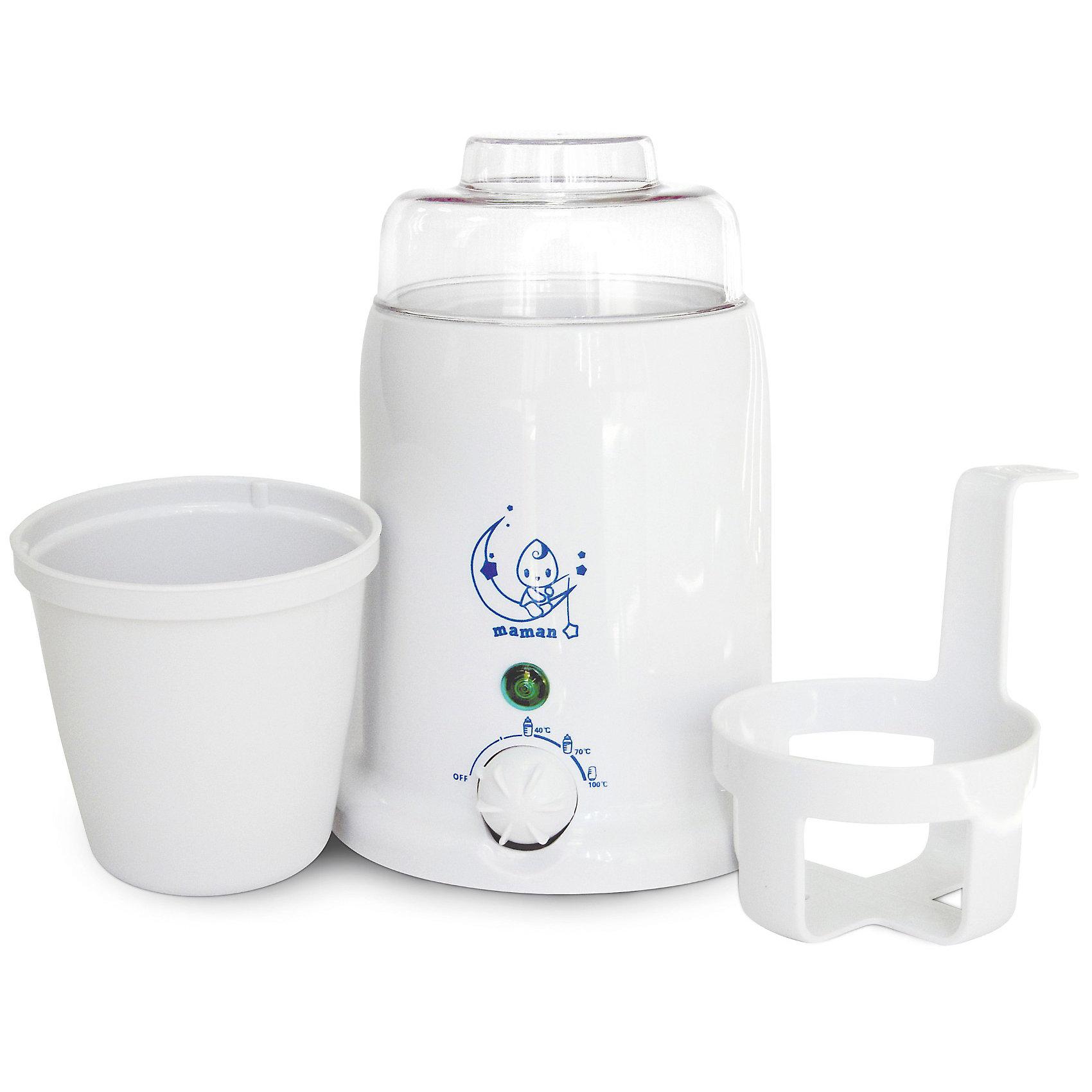 Подогреватель детского питания и стерилизатор Maman BY-01Подходит для всех типов бутылочек. <br>Позволяет разогревать баночки с детским питанием.<br>Нагревает за несколько минут.<br>Плавная регулировка температуры. <br>Автоматически поддерживает заданную температуру нагрева. <br>В комплекте специальный лифт для удобного извлечения баночек с детским питанием. <br>Стерилизация бутылочек, сосок, пустышек. <br>Безопасный, экономичный и надежный нагревательный элемент. <br>Индикатор состояния нагрева и готовности. <br>Комплектность: подогреватель, лифт, стакан с крышкой.<br><br>Ширина мм: 140<br>Глубина мм: 140<br>Высота мм: 200<br>Вес г: 471<br>Возраст от месяцев: 0<br>Возраст до месяцев: 36<br>Пол: Унисекс<br>Возраст: Детский<br>SKU: 3375640