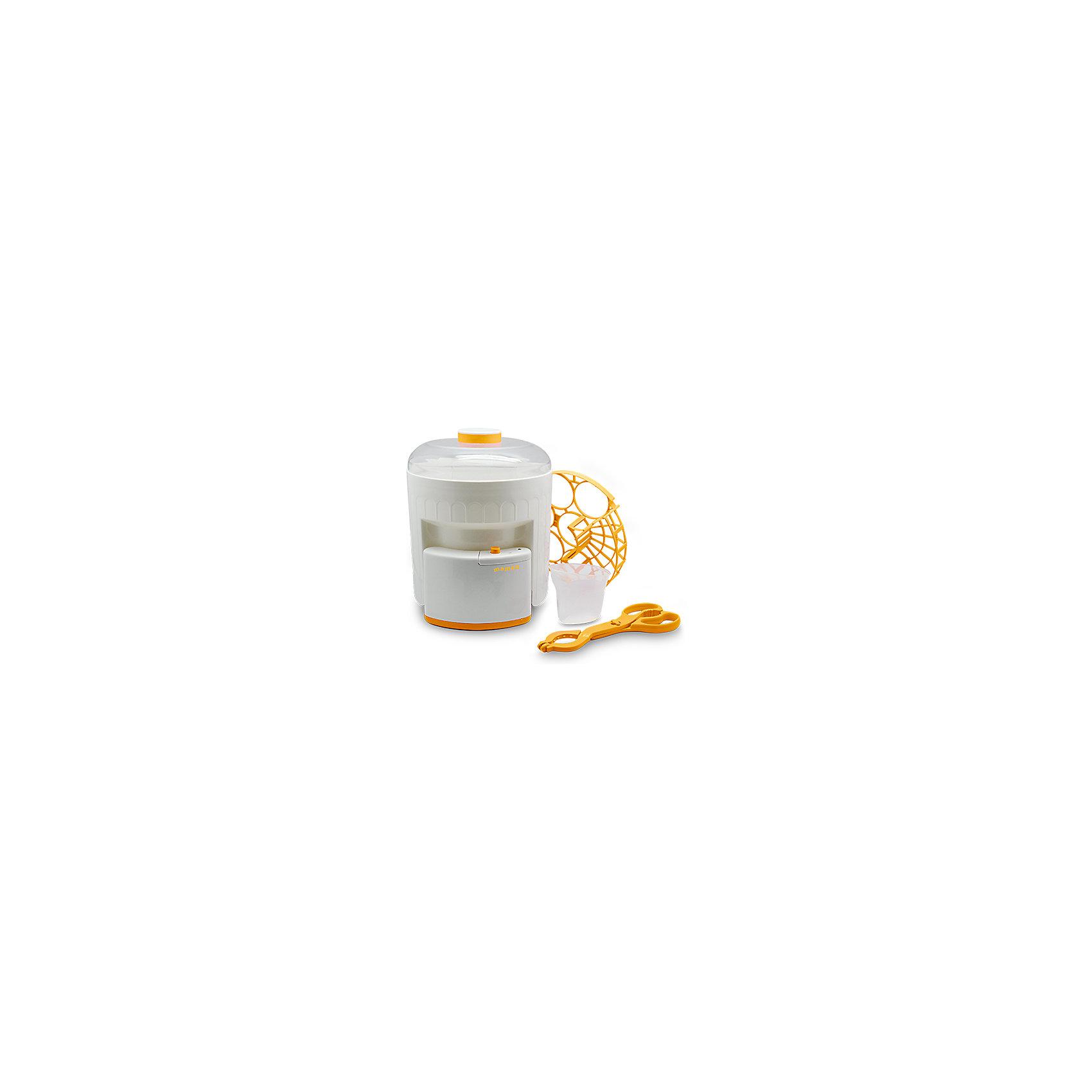 Стерилизатор Maman BY-03Предназначен <br>для стерилизации бутылочек для детского питания всех видов <br>(до 6 штук одновременно), а также аксессуаров, необходимых для кормления малыша.<br>Съемный держатель для укладки стерилизуемых предметов позволяет размещать в устройстве, одновременно с бутылочками, соски, пустышки, а также мелкие детали молокоотсоса.<br>Световой индикатор на корпусе стерилизатора отображает включение устройства и гаснет после завершения процесса стерилизации.<br>В комплекте: основа стерилизатора, бачок, крышка, держатель для укладки предметов, щипцы для безопасного извлечения горячих предметов, мерный стаканчик, руководство пользователя.<br><br>Ширина мм: 227<br>Глубина мм: 230<br>Высота мм: 270<br>Вес г: 729<br>Возраст от месяцев: 0<br>Возраст до месяцев: 36<br>Пол: Унисекс<br>Возраст: Детский<br>SKU: 3375642