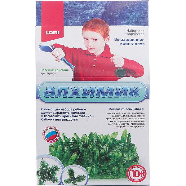 Выращивание кристаллов Зеленый кристалл, LORIВыращивание кристаллов<br>Выращивание кристаллов Зеленые кристалл - сверкающий кристалл всего за несколько дней!<br>Набор для исследований Выращивание кристаллов. Зеленый кристалл позволит вашему ребенку самостоятельно провести эксперимент по выращиванию кристалла зеленого цвета, а после изготовить красивые сувениры - бабочку и звездочку. Всего за несколько дней юный кристаллограф сумеет углубиться в этот мир великолепия и увидеть чудеса и красоту образования и роста кристалла. Выращивая кристаллы, ребенок узнает о мире все больше и больше! У него появится интерес к науке, творчеству. Он почувствует радость от создания красивой вещи собственными руками, а также научится следовать инструкциям, получит необходимые навыки труда.<br><br>Дополнительная информация:<br><br>- В наборе: химический реактив, емкость для выращивания кристалла (2 шт.), пластиковая ложка, основа, вырубленные фигурки из фетра, проволока, подробная инструкция<br>- Размер упаковки: 19 х 11 х 9 см.<br>- Вес: 295 гр.<br>- Внимание! Набор содержит нетоксичные материалы, однако при ненадлежащем использовании они могут причинить вред. Опыт безопасен для ребёнка, но рекомендуется наблюдение взрослых<br><br>Набор Выращивание кристаллов Зеленые кристалл можно купить в нашем интернет-магазине.<br><br>Ширина мм: 190<br>Глубина мм: 110<br>Высота мм: 90<br>Вес г: 295<br>Возраст от месяцев: 120<br>Возраст до месяцев: 180<br>Пол: Унисекс<br>Возраст: Детский<br>SKU: 3376766