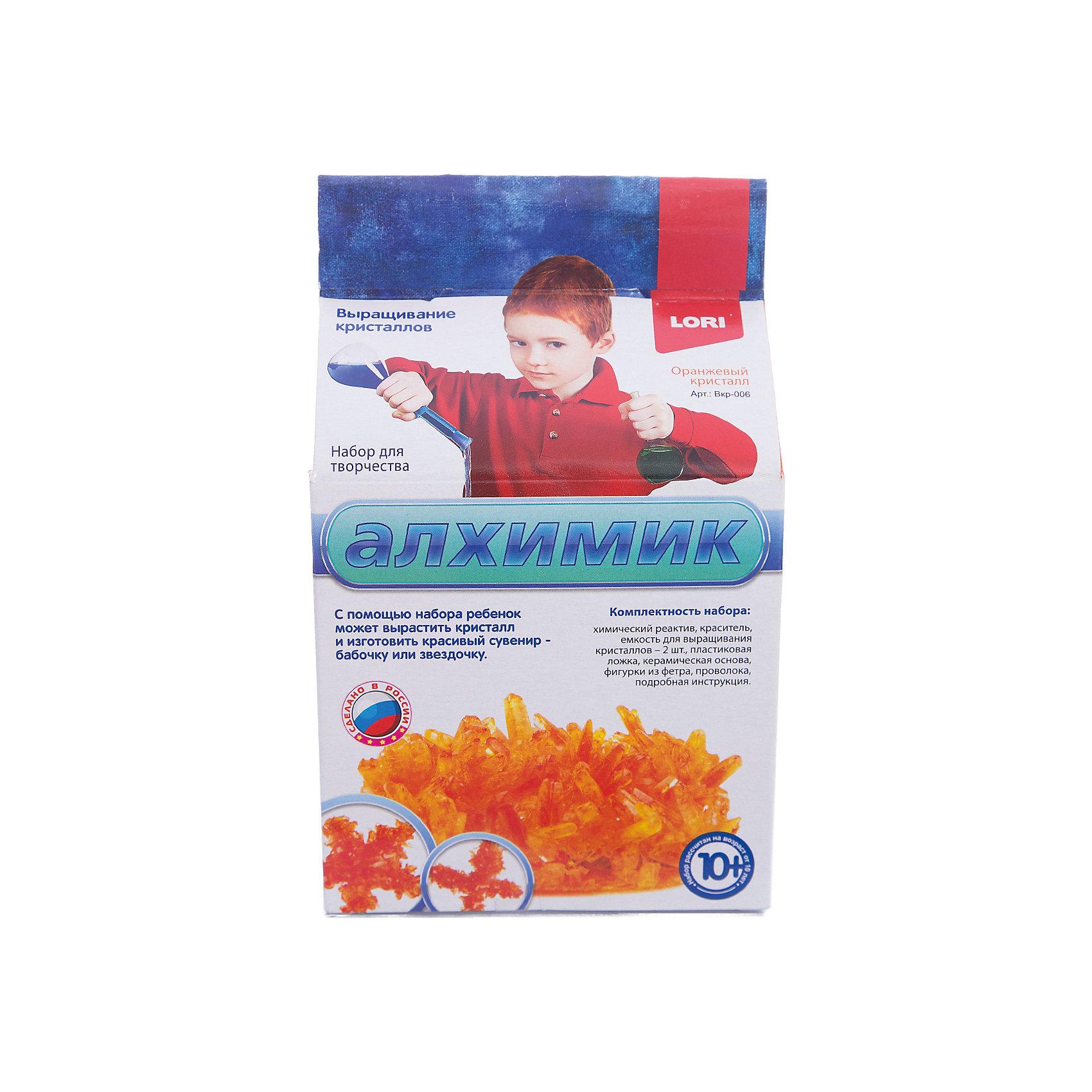 Выращивание кристаллов Оранжевый кристалл, LORIКристаллы<br>Выращивание кристаллов Оранжевый кристалл, LORI станет самым интересным занятием для Вашего малыша!<br>Выращивание кристаллов - самый массовый и самый популярный вид химических опытов для детей. С помощью данных наборов можно вырастить друзу  кристаллов зеленого, оранжевого, красного и синего цвета, а так же вырастить красивый цветной кристаллический сувенир - бабочку или звездочку, с помощью кусочка фетра, который вложен в набор. Суть выращивания в наблюдении кристаллизации вещества из насыщенного соляного раствора.<br><br>Дополнительная информация:<br><br>Размер: 190х110х90 мм.<br><br>Вес: 295 г.<br><br>Станет прекрасным развивающим подарком Вашему малышу!<br>Легко купить в нашем интернет-магазине!<br><br>Ширина мм: 190<br>Глубина мм: 110<br>Высота мм: 90<br>Вес г: 295<br>Возраст от месяцев: 120<br>Возраст до месяцев: 180<br>Пол: Унисекс<br>Возраст: Детский<br>SKU: 3376767