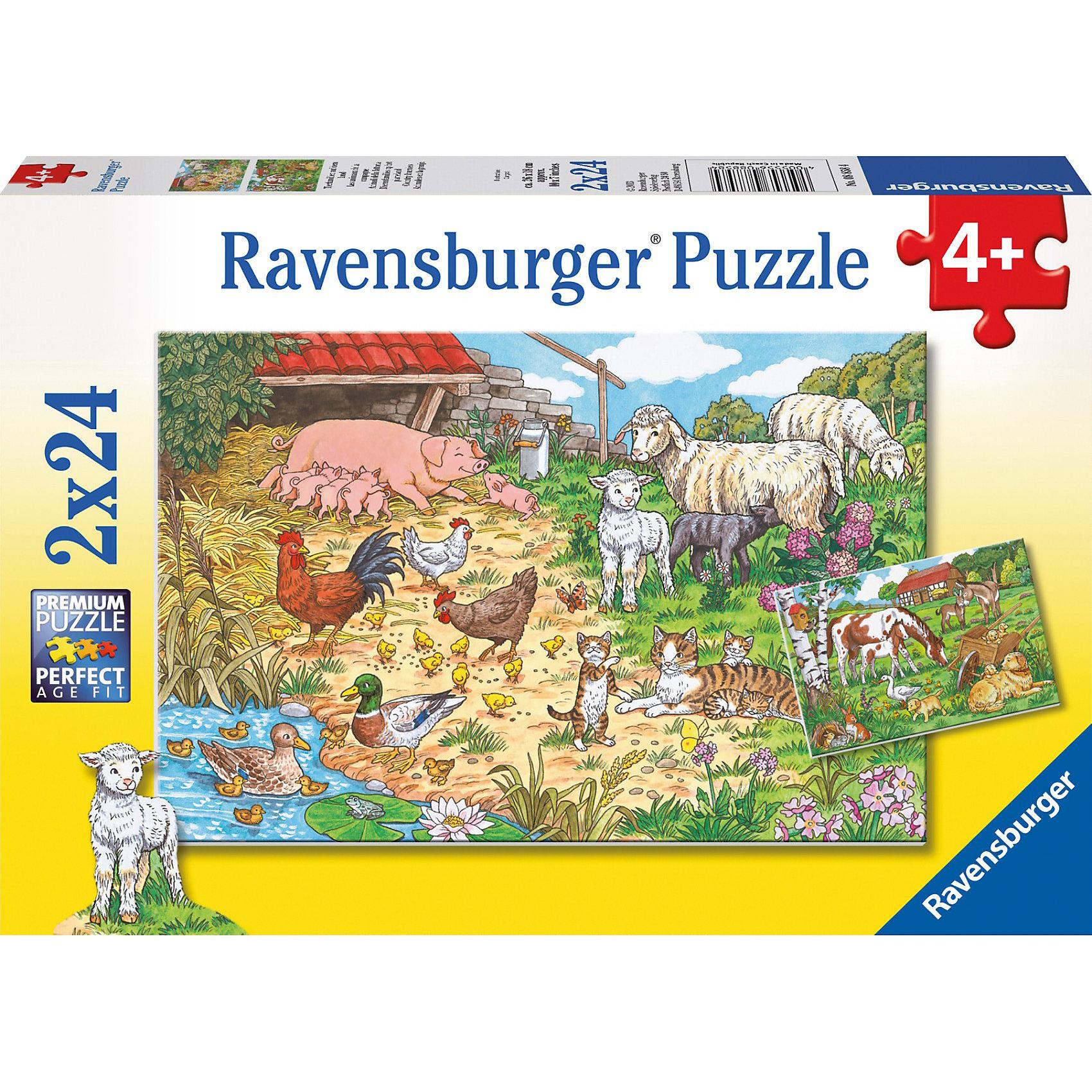 Набор пазлов  «Поездка в деревню» 2х24 деталей, RavensburgerНевероятно красочный Набор из 2-х пазлов  «Поездка в деревню» 2х24 деталей, Ravensburger (Равенсбургер), несомненно, понравится Вашему ребенку. Собрав правильно все пазлы, он получит 2 замечательные картинки с изображением очаровательных домашних животных и милых лошадок, пасущихся на лугу. Готовую картину можно поместить в рамку, и она еще долгое время будет радовать глаз! <br><br>Характеристики:<br>-Элементы идеально соединяются друг с другом, не отслаиваются с течением времени<br>-Высочайшее качество картона и полиграфии <br>-Матовая поверхность исключает отблески<br>-Развивает: память, мышление, внимательность, усидчивость, мелкая моторика<br>-Каждая деталь пазла отличается по форме, что упростит сборку <br>-Занимательное времяпрепровождение для всей семьи<br>-Для сохранения в собранном виде можно использовать скотч или специальный клей для пазлов (в комплект не входит)<br><br>Дополнительная информация:<br>-Материал: плотный картон, бумага<br>-Размер каждого собранного пазла: 26х18 см<br>-Размер упаковки: 28х19х4 см<br>-Вес упаковки: 0,3 кг<br><br>Набор пазлов  «Поездка в деревню» – это отличная развивающая игра-головоломка для детей и занимательное времяпрепровождение для всей семьи! <br><br>Набор пазлов  «Поездка в деревню» 2х24 деталей, Ravensburger (Равенсбургер) можно купить в нашем магазине.<br><br>Ширина мм: 275<br>Глубина мм: 192<br>Высота мм: 37<br>Вес г: 271<br>Возраст от месяцев: 48<br>Возраст до месяцев: 72<br>Пол: Унисекс<br>Возраст: Детский<br>Количество деталей: 24<br>SKU: 3376942