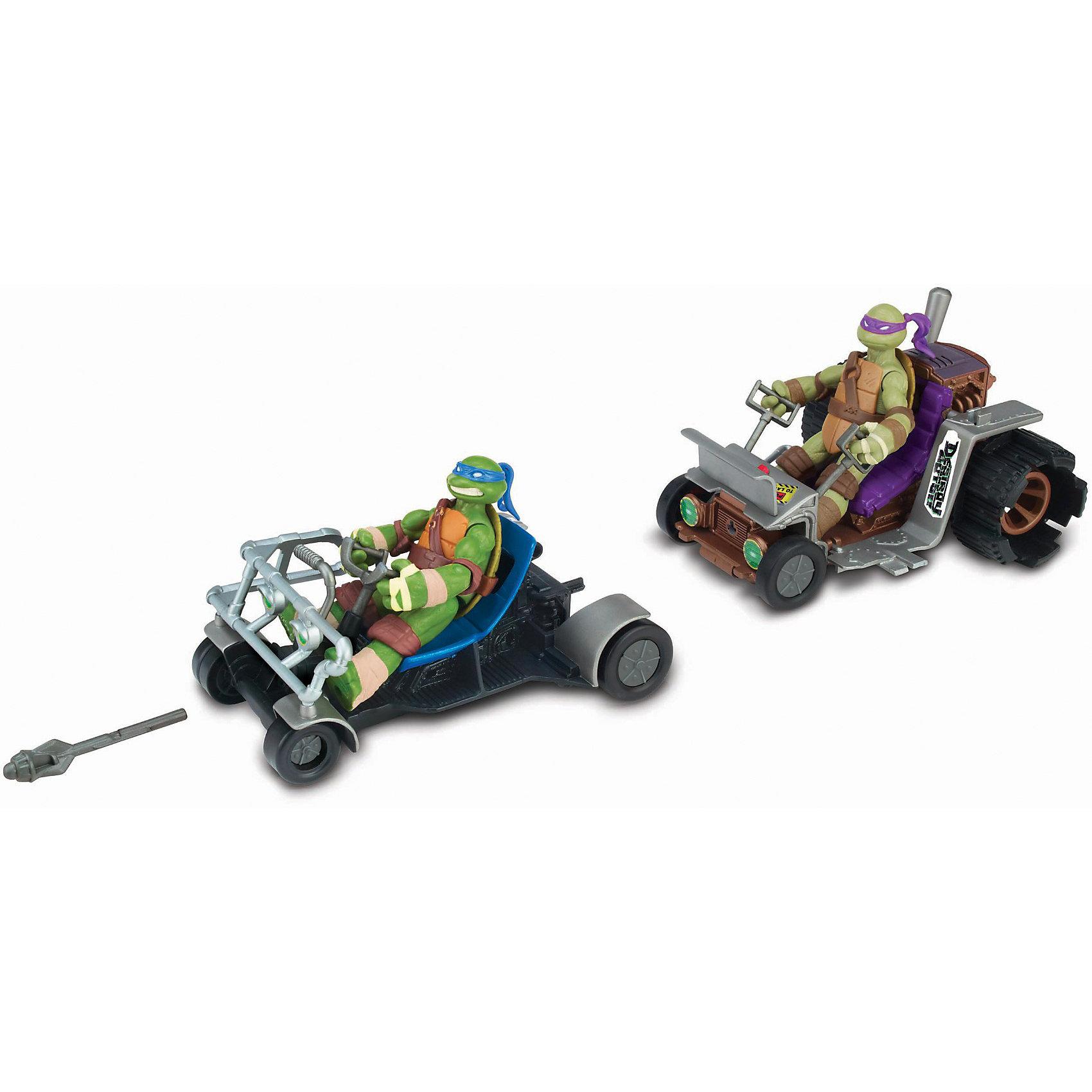Патрульные Леонардо и Донателло, Черепашки НиндзяПатрульные багги «Черепашек-ниндзя» (Ninja Turtles) - игровой набор из двух боевых багги, предназначенных для Леонардо и Донателло.    <br>На место водителя  отлично подходит любая из фигурок «Черепашек- Ниндзя»  12см.<br>Патрульными багги можно играть, как отдельно, так и соединять две багги друг с другом.<br>С помощью нажатия  рычага багги Донателло  запускает  патрульную  багги  Леонардо, и та с ускорением мчится навстречу неприятелю.<br>Багги  Леонардо  оснащена специальным оружием, выпускающим боевые снаряды, одно нажатие на рычаг и снаряд летит точно в цель .<br>Багги также могут сцепляться с патрульными машинами Рафаэля и Микеланджело (продаются отдельно),образуя мощнейшее транспортное средство из четырёх патрульных багги.<br>Город может спать спокойно, ведь теперь его патрулируют самые смелые герои на своих скороходных багги.<br>Данный игровой набор развивает фантазию, воображение, умение создать сюжетно- ролевую игру. Патрульные багги Черепашек-Ниндзя» продаются  в яркой и красивой упаковке.<br><br>Боевые машины — это новое секретное оружие в арсенале Черепашек Ниндзя!<br> <br>Дополнительная информация:<br><br>- В комплекте: две багги и снаряд. Внимание! Фигурки «Черепашек-ниндзя» в комплект не входят и продаются отдельно<br>- Размер упаковки (ДхШхВ): 33 х 11 х 19 см.<br>- Игрушка механическая, не электронная, батареек не требует. <br>- Материал: Пластик<br>- Вес: 0,5 кг.<br><br>«Патрульные Багги(Лео и Дон), Черепашки Ниндзя» можно купить в нашем интернет-магазине.<br><br>Ширина мм: 330<br>Глубина мм: 110<br>Высота мм: 190<br>Вес г: 500<br>Возраст от месяцев: 48<br>Возраст до месяцев: 132<br>Пол: Мужской<br>Возраст: Детский<br>SKU: 3377414