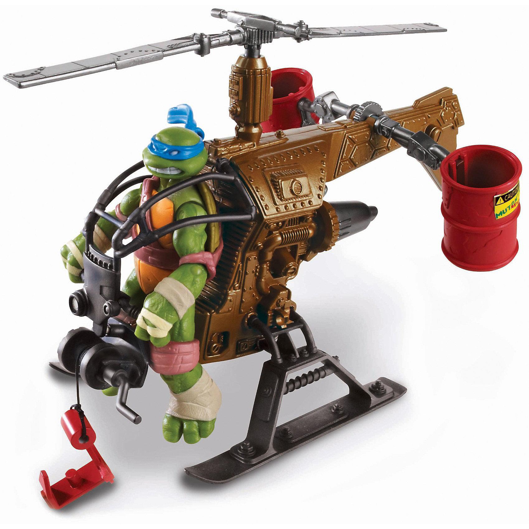 Вертолет Черепашки НиндзяИгрушки<br>Вертолёт «Черепашек-ниндзя»  -  игровой набор боевой вертолёт для атаки врага с воздуха - надёжный помощник братьев «Черепашек-ниндзя».<br>С помощью  вертолета, «Черепашки-ниндзя» могут оставаться незамеченными для врага и неожиданно настичь его.<br>Нужно всего лишь расположить одну из фигурок «Черепашек-Ниндзя»  12см, в удобном кресле пилота и лететь на борьбу с коварными злодеями.  В игровой набор входят две опрокидывающиеся бочки, которые можно наполнить мутагеном – это  боевой раствор мыльной воды зелёного цвета (продается отдельно). В передней части, вертолёт оснащён лебёдкой, с помощью которой можно незаметно высаживать  «Черепашек-ниндзя» в тылу врага, прикрепляя их к пластиковому крюку-держателю.                                                <br>Вертолёт  наших героев оснащен вращающимся винтом (ручное вращение).<br>Данный игровой набор развивает фантазию, воображение, умение создать сюжетно-ролевую игру.<br>Вертолет «Черепашек-Ниндзя» (Ninja Turtles)  продается в яркой и красивой  упаковке.<br><br>Черепашки-ниндзя покажут всем, кто тут главный! <br><br>Дополнительная информация:<br><br>-Размер вертолёта (ВхДхШ): 16х18х15см.<br>- Материал: Пластик                                                <br>- Вес: 0,348 кг.<br>- Фигурки «Черепашек-ниндзя» в набор не входят, их можно приобрести отдельно, артикулы.<br><br>«Вертолет Черепашки Ниндзя» можно купить в нашем интернет-магазине.<br><br>Ширина мм: 240<br>Глубина мм: 70<br>Высота мм: 190<br>Вес г: 350<br>Возраст от месяцев: 48<br>Возраст до месяцев: 132<br>Пол: Мужской<br>Возраст: Детский<br>SKU: 3377418