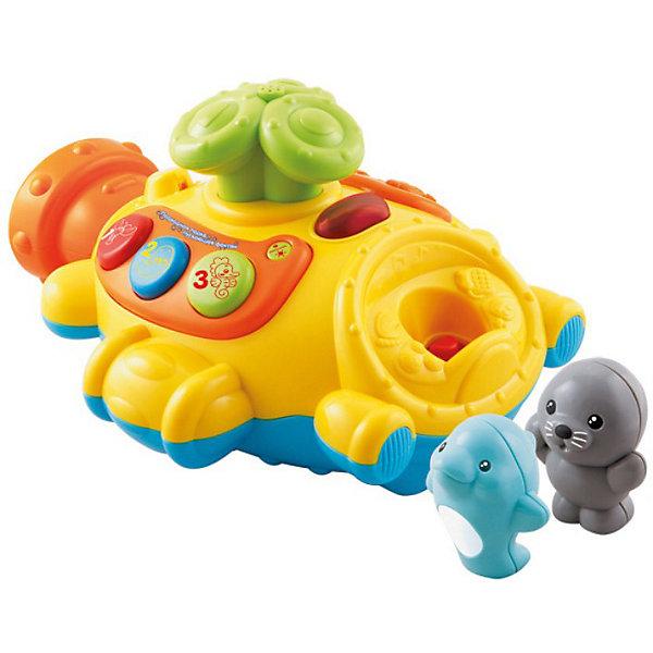 Игрушка для ванной Подводная лодка, VtechКорабли и лодки<br>Игрушка для ванной Подводная лодка, Vtech (Втеч).<br><br>Характеристики:<br><br>• Для детей от 1 года<br>• Комплектация: подводная лодка, съёмная спасательная лодка, 2 фигурки морских животных<br>• Размер подводной лодки: 26х22х14 см.<br>• Высота фигурки: 7,5 см.<br>• Материал: пластик<br>• Обучение: названия морских животных, цвета, цифры<br>• Песня из мультфильма «Мама для мамонтенка».<br>• Батарейки: 3 типа АА (в комплекте демонстрационные)<br>• Упаковка: красочная подарочная коробка<br>• Размер упаковки: 31х15,5х24,5 см.<br><br>Подводная лодка от французской компании Vtech – восхитительная игрушка для ванны, с которой купание вашего малыша будет не только веселым, но и познавательным! В комплект входят: игрушка в виде подводной лодки с перископом, фигурки морского котика и дельфина, а также съемная спасательная лодка. <br><br>Водонепроницаемый пластиковый корпус подводной лодки позволяет играть с ней в воде, при этом автоматически из перископа брызгает вода и проигрывается песенка из мультфильма «Мама для мамонтенка». Фигурки морских животных и спасательную лодку можно закрепить на корпусе подлодки. Если малыш нажмет на фигурку животного, то он услышит забавные звуки или веселую мелодию. <br><br>На подводной лодке расположены три кнопки, при нажатии на которые ребенок познакомится с цветами, цифрами от 1 до 3 и морскими животными. Режим вопросов поможет закрепить полученные знания. Предусмотрен таймер автоматического отключения. Игрушка изготовлена из прочного безопасного не бьющегося пластика. Продается в красочной коробке и идеально подходит в качестве подарка.<br><br>Игрушку для ванной Подводная лодка, Vtech (Втеч) можно купить в нашем интернет-магазине.<br>Ширина мм: 160; Глубина мм: 310; Высота мм: 240; Вес г: 1300; Возраст от месяцев: 12; Возраст до месяцев: 36; Пол: Унисекс; Возраст: Детский; SKU: 3380325;