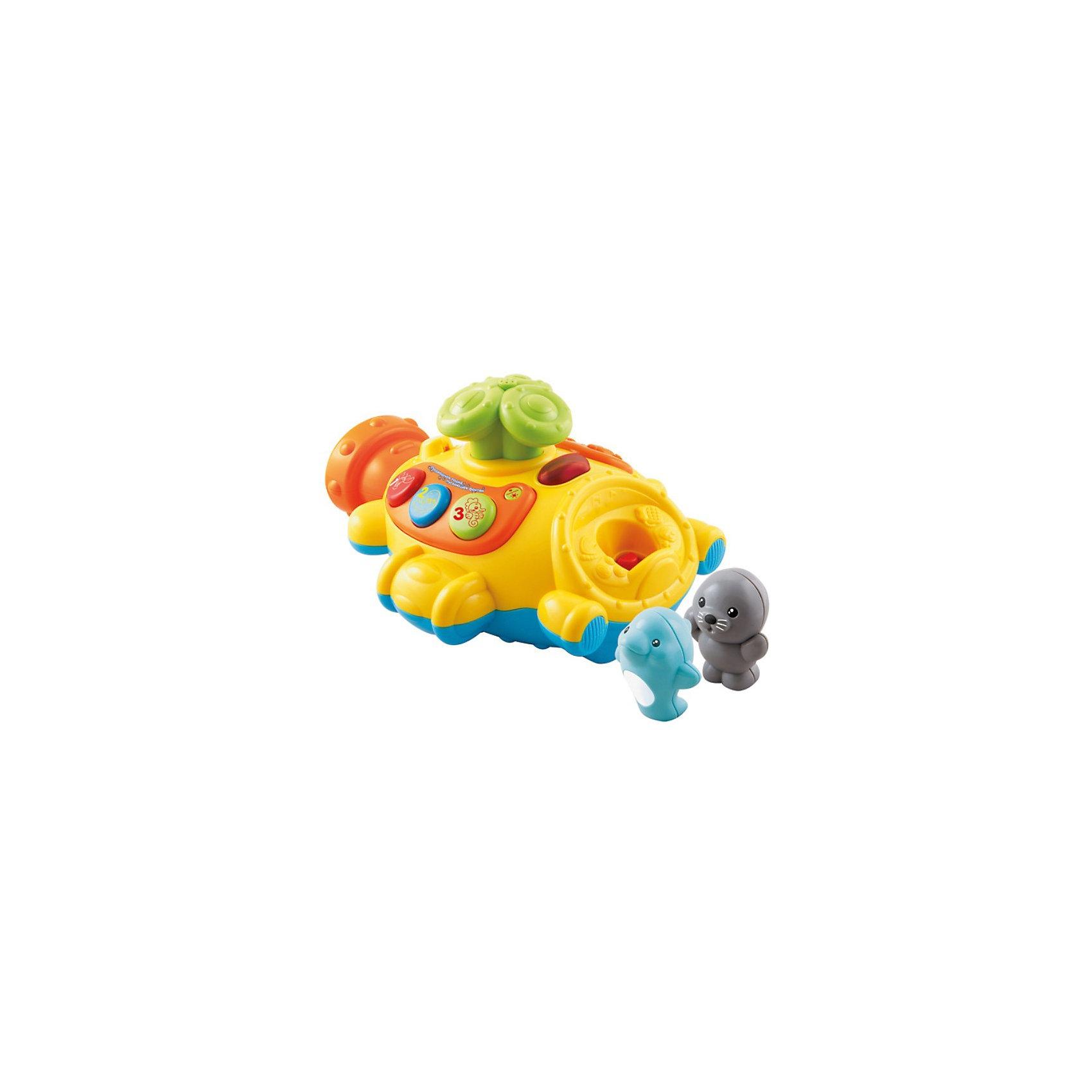Игрушка для ванной Подводная лодка, VtechКорабли и лодки<br>Игрушка для ванной Подводная лодка, Vtech (Втеч).<br><br>Характеристики:<br><br>• Для детей от 1 года<br>• Комплектация: подводная лодка, съёмная спасательная лодка, 2 фигурки морских животных<br>• Размер подводной лодки: 26х22х14 см.<br>• Высота фигурки: 7,5 см.<br>• Материал: пластик<br>• Обучение: названия морских животных, цвета, цифры<br>• Песня из мультфильма «Мама для мамонтенка».<br>• Батарейки: 3 типа АА (в комплекте демонстрационные)<br>• Упаковка: красочная подарочная коробка<br>• Размер упаковки: 31х15,5х24,5 см.<br><br>Подводная лодка от французской компании Vtech – восхитительная игрушка для ванны, с которой купание вашего малыша будет не только веселым, но и познавательным! В комплект входят: игрушка в виде подводной лодки с перископом, фигурки морского котика и дельфина, а также съемная спасательная лодка. <br><br>Водонепроницаемый пластиковый корпус подводной лодки позволяет играть с ней в воде, при этом автоматически из перископа брызгает вода и проигрывается песенка из мультфильма «Мама для мамонтенка». Фигурки морских животных и спасательную лодку можно закрепить на корпусе подлодки. Если малыш нажмет на фигурку животного, то он услышит забавные звуки или веселую мелодию. <br><br>На подводной лодке расположены три кнопки, при нажатии на которые ребенок познакомится с цветами, цифрами от 1 до 3 и морскими животными. Режим вопросов поможет закрепить полученные знания. Предусмотрен таймер автоматического отключения. Игрушка изготовлена из прочного безопасного не бьющегося пластика. Продается в красочной коробке и идеально подходит в качестве подарка.<br><br>Игрушку для ванной Подводная лодка, Vtech (Втеч) можно купить в нашем интернет-магазине.<br><br>Ширина мм: 160<br>Глубина мм: 310<br>Высота мм: 240<br>Вес г: 1300<br>Возраст от месяцев: 12<br>Возраст до месяцев: 36<br>Пол: Унисекс<br>Возраст: Детский<br>SKU: 3380325