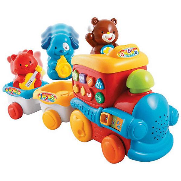 Музыкальный поезд, VtechЖелезные дороги<br>Музыкальный поезд, Vtech (Втеч).<br><br>Характеристики:<br><br>• Для детей от 6 месяцев<br>• Комплектация: поезд, 2 вагончика, 3 фигурки животных<br>• Материал: пластик<br>• Размер:. 43х19х11 см.<br>• Батарейки: 2 типа АА (в комплекте демонстрационные)<br>• Упаковка: красочная подарочная коробка<br>• Размер упаковки: 46 х 27,5 х 14,5 см.<br><br>Красочный музыкальный поезд от французской компании Vtech – великолепная развивающая игрушка 2 в 1, которая работает в двух режимах обучающем и музыкальном. Яркий разноцветный поезд подарит малышу множество веселых минут и обучит новым знаниям. Поезд состоит из тепловоза и 2-х вагончиков, в которых сидят котенок с гитарой, собачка с саксофоном и мишка с барабаном. <br><br>При движении поезда, фигурки животных танцуют под веселую музыку, труба паровозика светится, а сам поезд еще и гудит! Фигурки животных можно менять местами. Если машинистом будет котенок, то малыш послушает, как играет гитара. Если место машиниста займет медвежонок, то ребенок узнает, как звучит барабан. А машинист собачка сыграет джаз на саксофоне. Фигурки животных можно снять и играть с ними отдельно. На паровозике расположено 6 кнопочек в виде различных геометрических фигур с нарисованными музыкальными инструментами и переключатель режимов. <br><br>Играя в музыкальный паровозик, ваш малыш познакомится с направлением вперед-назад, названиями геометрических фигур, видами музыкальных инструментов и их звучанием, а также послушает песенку из мультфильма. Когда малыш немного подрастет, он сможет катать игрушку за веревочку. Верёвочка хранится в специальном отсеке. Предусмотрен таймер автоматического отключения. Игрушка изготовлена из прочного безопасного не бьющегося пластика. Продается в красочной коробке и идеально подходит в качестве подарка.<br><br>Игрушку Музыкальный поезд, Vtech (Втеч) можно купить в нашем интернет-магазине.<br><br>Ширина мм: 150<br>Глубина мм: 460<br>Высота мм: 280<br>Вес г: 1950<br>Возраст от 