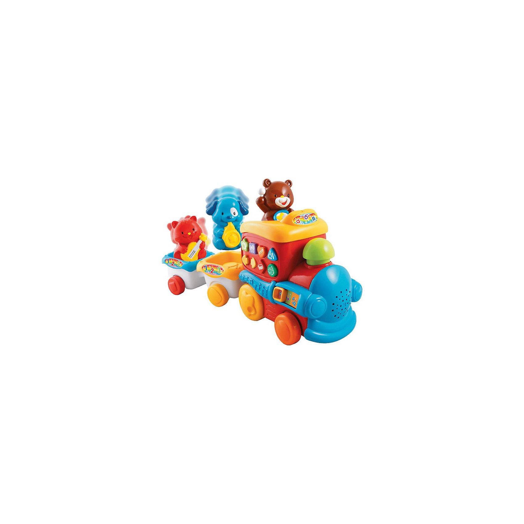 Музыкальный поезд, VtechИнтерактивные игрушки для малышей<br>Музыкальный поезд, Vtech (Втеч).<br><br>Характеристики:<br><br>• Для детей от 6 месяцев<br>• Комплектация: поезд, 2 вагончика, 3 фигурки животных<br>• Материал: пластик<br>• Размер:. 43х19х11 см.<br>• Батарейки: 2 типа АА (в комплекте демонстрационные)<br>• Упаковка: красочная подарочная коробка<br>• Размер упаковки: 46 х 27,5 х 14,5 см.<br><br>Красочный музыкальный поезд от французской компании Vtech – великолепная развивающая игрушка 2 в 1, которая работает в двух режимах обучающем и музыкальном. Яркий разноцветный поезд подарит малышу множество веселых минут и обучит новым знаниям. Поезд состоит из тепловоза и 2-х вагончиков, в которых сидят котенок с гитарой, собачка с саксофоном и мишка с барабаном. <br><br>При движении поезда, фигурки животных танцуют под веселую музыку, труба паровозика светится, а сам поезд еще и гудит! Фигурки животных можно менять местами. Если машинистом будет котенок, то малыш послушает, как играет гитара. Если место машиниста займет медвежонок, то ребенок узнает, как звучит барабан. А машинист собачка сыграет джаз на саксофоне. Фигурки животных можно снять и играть с ними отдельно. На паровозике расположено 6 кнопочек в виде различных геометрических фигур с нарисованными музыкальными инструментами и переключатель режимов. <br><br>Играя в музыкальный паровозик, ваш малыш познакомится с направлением вперед-назад, названиями геометрических фигур, видами музыкальных инструментов и их звучанием, а также послушает песенку из мультфильма. Когда малыш немного подрастет, он сможет катать игрушку за веревочку. Верёвочка хранится в специальном отсеке. Предусмотрен таймер автоматического отключения. Игрушка изготовлена из прочного безопасного не бьющегося пластика. Продается в красочной коробке и идеально подходит в качестве подарка.<br><br>Игрушку Музыкальный поезд, Vtech (Втеч) можно купить в нашем интернет-магазине.<br><br>Ширина мм: 150<br>Глубина мм: 460<br>Высота мм: 280<br>Вес г: 1