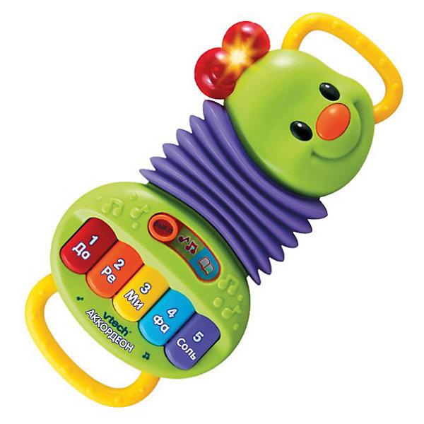 Аккордеон, VtechДетские музыкальные инструменты<br>Аккордеон, Vtech (Втеч).<br><br>Характеристики:<br><br>• Для детей от 1 года<br>• Особенности игрушки: 2 режима обучения, 5 клавиш пианино, удобные ручки, кнопка-носик с мелодиями, светящиеся элементы, таймер автоматического отключения<br>• Материал: пластик<br>• Размер игрушки: 18х4х28 см.<br>• Батарейки: 2 типа ААА (в комплекте демонстрационные)<br>• Упаковка: красочная подарочная коробка<br>• Размер упаковки: 31х22х6 см.<br><br>Детский игрушечный Аккордеон от французской компании Vtech – великолепная развивающая игрушка, которая сразу привлечет внимание малыша и сможет обучить новым знаниям! Сжимая и разжимая аккордеон, малыш сможет сочинять собственные мелодии, а нажимая на клавиши, выучит названия цветов, нот и цифр. <br><br>Нажав на кнопку-носик, малыш послушает две песенки из мультфильма про крокодила Гену и Чебурашку. Аккордеон поможет ребенку развить музыкальный слух, моторику, зрительное и слуховое восприятие. Игрушка изготовлена из прочного безопасного не бьющегося пластика. Продается в красочной коробке и идеально подходит в качестве подарка.<br><br>Игрушку Аккордеон, Vtech (Втеч) можно купить в нашем интернет-магазине.<br>Ширина мм: 310; Глубина мм: 220; Высота мм: 60; Вес г: 620; Возраст от месяцев: 12; Возраст до месяцев: 36; Пол: Унисекс; Возраст: Детский; SKU: 3380328;