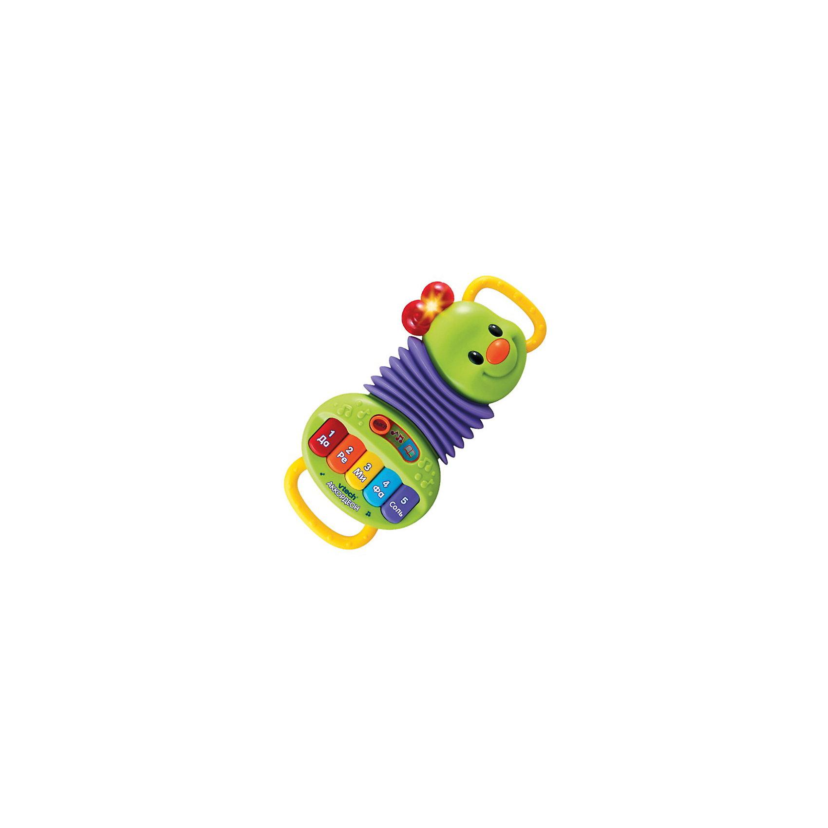 Аккордеон, VtechИнтерактивные игрушки для малышей<br>Аккордеон, Vtech (Втеч).<br><br>Характеристики:<br><br>• Для детей от 1 года<br>• Особенности игрушки: 2 режима обучения, 5 клавиш пианино, удобные ручки, кнопка-носик с мелодиями, светящиеся элементы, таймер автоматического отключения<br>• Материал: пластик<br>• Размер игрушки: 18х4х28 см.<br>• Батарейки: 2 типа ААА (в комплекте демонстрационные)<br>• Упаковка: красочная подарочная коробка<br>• Размер упаковки: 31х22х6 см.<br><br>Детский игрушечный Аккордеон от французской компании Vtech – великолепная развивающая игрушка, которая сразу привлечет внимание малыша и сможет обучить новым знаниям! Сжимая и разжимая аккордеон, малыш сможет сочинять собственные мелодии, а нажимая на клавиши, выучит названия цветов, нот и цифр. <br><br>Нажав на кнопку-носик, малыш послушает две песенки из мультфильма про крокодила Гену и Чебурашку. Аккордеон поможет ребенку развить музыкальный слух, моторику, зрительное и слуховое восприятие. Игрушка изготовлена из прочного безопасного не бьющегося пластика. Продается в красочной коробке и идеально подходит в качестве подарка.<br><br>Игрушку Аккордеон, Vtech (Втеч) можно купить в нашем интернет-магазине.<br><br>Ширина мм: 310<br>Глубина мм: 220<br>Высота мм: 60<br>Вес г: 620<br>Возраст от месяцев: 12<br>Возраст до месяцев: 36<br>Пол: Унисекс<br>Возраст: Детский<br>SKU: 3380328