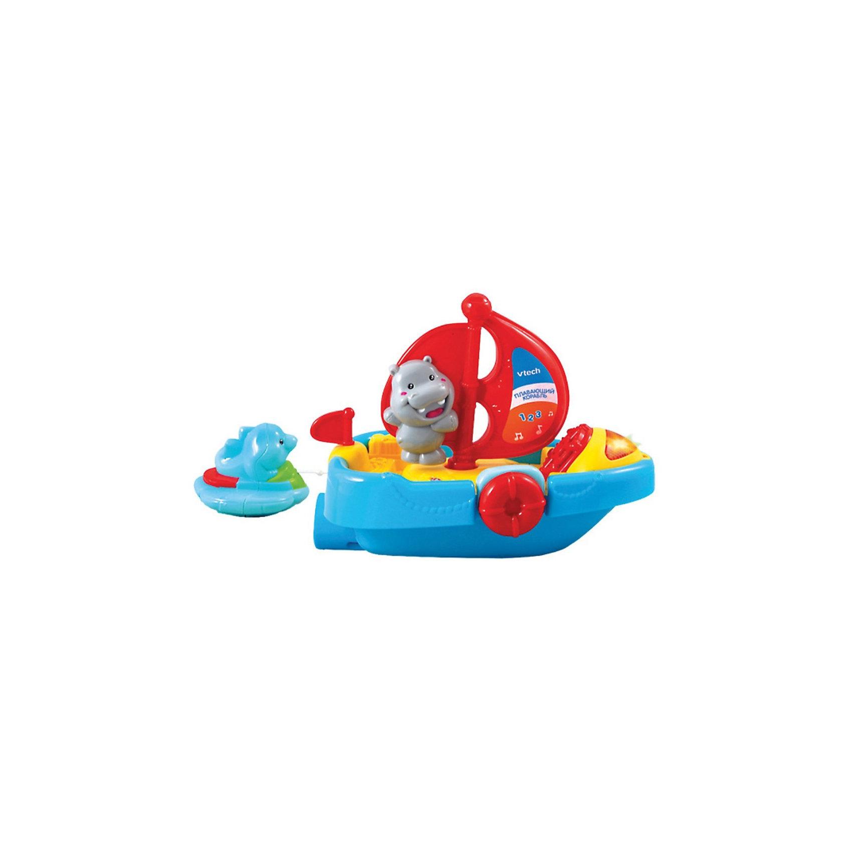 Развивающая игрушка Плавающий корабль, со светом и звуком, VtechРазвивающая игрушка Плавающий корабль, со светом и звуком, Vtech - яркая и красивая игрушка, которая с пользой развлечет Вашего ребенка во время купания.<br> <br>Играя с  Плавающим кораблем в ванне, ребёнок не только получит массу приятных эмоций, но и разовьёт мелкую моторику, тактильные ощущения и музыкально-слуховые навыки. Кроме того,  с помощью этой игрушки Ваш малыш выучит цифры от 1 до 3, названия животных, познакомится со строением корабля и послушает весёлую песенку. <br><br>Оттяните спасательный круг с дельфином, и кораблик поплывёт на всех парусах. Нажмите на бегемота и вы услышите забавные звуки, фразы и песенки из мультфильмов.<br><br>Дополнительная информация:<br><br>-  В комплекте: водонепроницаемая обучающая игрушка для ванны.<br>- Режимы: учим цифры, учим названия животных, песня из м/ф мамонтёнок. <br>- Озвучивание: профессиональное (одноголосое).<br>- Материал: пластик.<br>- Размеры упаковки: 22х13х26 см.<br><br>Развивающую игрушку Плавающий корабль, со светом и звуком, Vtech можно купить в нашем интернет-магазине.<br><br>Ширина мм: 220<br>Глубина мм: 130<br>Высота мм: 260<br>Вес г: 850<br>Возраст от месяцев: 12<br>Возраст до месяцев: 36<br>Пол: Унисекс<br>Возраст: Детский<br>SKU: 3380329