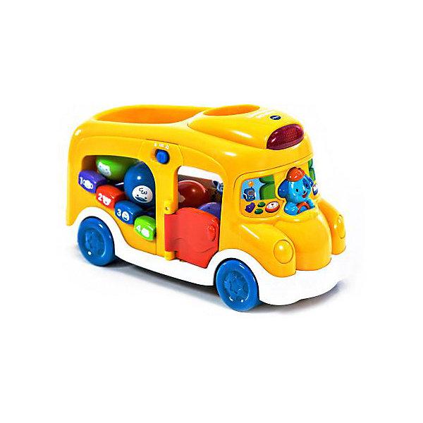 Школьный автобус, VtechИгрушечные машинки-каталки<br>Школьный автобус, Vtech (Втеч).<br><br>Характеристики:<br><br>• Для детей от 6 месяцев до 3 лет <br>• Комплектация: автобус, 4 интерактивных шарика разных цветов с нарисованными животными<br>• Материал: пластик<br>• Размер автобуса: 29x17,5x10,5 см.<br>• Батарейки: 3 типа АА (в комплекте демонстрационные)<br>• Упаковка: красочная подарочная коробка<br>• Размер упаковки: 35x24,5x14,5 см.<br><br>Красочный набор школьный автобус от французской компании Vtech – великолепная развивающая игрушка 2 в 1, которая работает в двух режимах обучающем и музыкальном. Играя в школьный автобус, ваш малыш выучит названия цветов и животных, научиться считать до 4-х, разовьет свои музыкальные способности игрой на пианино (4 клавиши) и послушает песенку из мультфильма. В комплект с автобусом входят 4 разноцветных интерактивных шарика с изображениями животных. <br><br>Бросая шарики в отверстие в крыше автобуса, малыш услышит голоса животных в зависимости от того, какой шарик он опустил. Когда малыш немного подрастет, он сможет катать игрушку за веревочку. Верёвочка хранится в специальном отсеке. Дверка автобуса открывается. Объемный водитель-собачка одновременно является кнопкой. Имеются световые эффекты. Предусмотрен таймер автоматического отключения. Игрушка изготовлена из прочного безопасного не бьющегося пластика. Продается в красочной коробке и идеально подходит в качестве подарка.<br><br>Игрушку Школьный автобус, Vtech (Втеч) можно купить в нашем интернет-магазине.<br><br>Ширина мм: 150<br>Глубина мм: 360<br>Высота мм: 250<br>Вес г: 1600<br>Возраст от месяцев: 6<br>Возраст до месяцев: 36<br>Пол: Унисекс<br>Возраст: Детский<br>SKU: 3380331