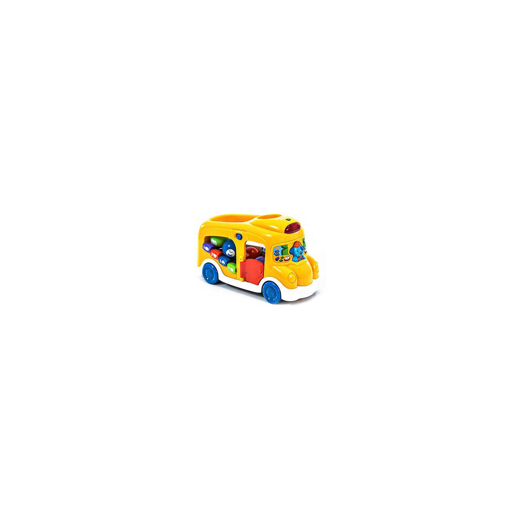 Школьный автобус, VtechМашинки и транспорт для малышей<br>Школьный автобус, Vtech (Втеч).<br><br>Характеристики:<br><br>• Для детей от 6 месяцев до 3 лет <br>• Комплектация: автобус, 4 интерактивных шарика разных цветов с нарисованными животными<br>• Материал: пластик<br>• Размер автобуса: 29x17,5x10,5 см.<br>• Батарейки: 3 типа АА (в комплекте демонстрационные)<br>• Упаковка: красочная подарочная коробка<br>• Размер упаковки: 35x24,5x14,5 см.<br><br>Красочный набор школьный автобус от французской компании Vtech – великолепная развивающая игрушка 2 в 1, которая работает в двух режимах обучающем и музыкальном. Играя в школьный автобус, ваш малыш выучит названия цветов и животных, научиться считать до 4-х, разовьет свои музыкальные способности игрой на пианино (4 клавиши) и послушает песенку из мультфильма. В комплект с автобусом входят 4 разноцветных интерактивных шарика с изображениями животных. <br><br>Бросая шарики в отверстие в крыше автобуса, малыш услышит голоса животных в зависимости от того, какой шарик он опустил. Когда малыш немного подрастет, он сможет катать игрушку за веревочку. Верёвочка хранится в специальном отсеке. Дверка автобуса открывается. Объемный водитель-собачка одновременно является кнопкой. Имеются световые эффекты. Предусмотрен таймер автоматического отключения. Игрушка изготовлена из прочного безопасного не бьющегося пластика. Продается в красочной коробке и идеально подходит в качестве подарка.<br><br>Игрушку Школьный автобус, Vtech (Втеч) можно купить в нашем интернет-магазине.<br><br>Ширина мм: 150<br>Глубина мм: 360<br>Высота мм: 250<br>Вес г: 1600<br>Возраст от месяцев: 6<br>Возраст до месяцев: 36<br>Пол: Унисекс<br>Возраст: Детский<br>SKU: 3380331