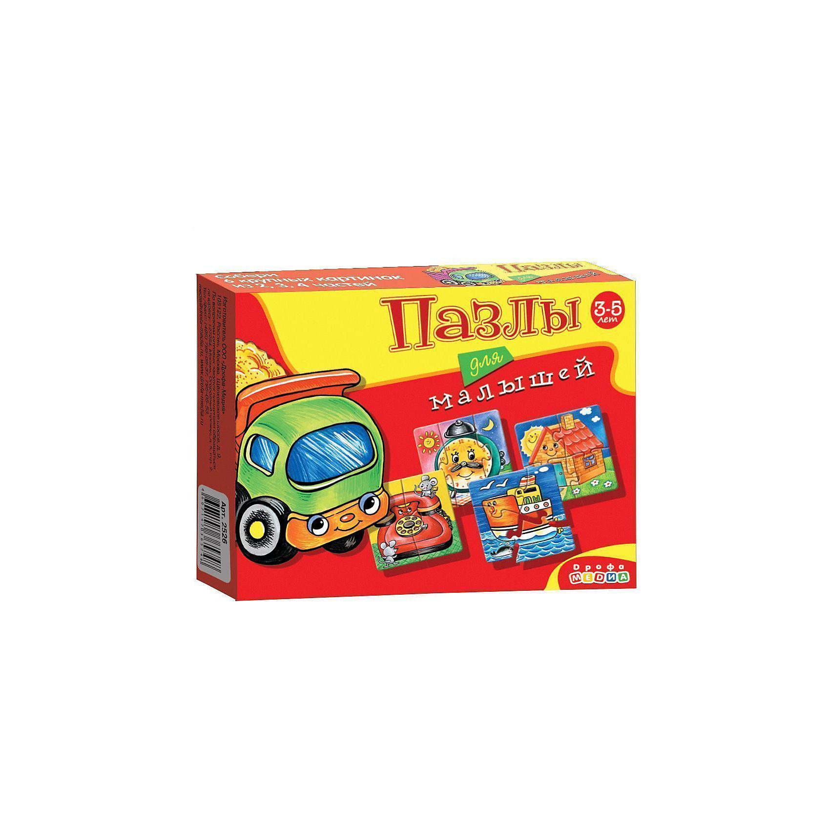 Пазлы для малышей (2526), Дрофа-МедиаПазлы для малышей<br>Пазл для малышей 2526 прекрасно подходит для первого знакомства малыша с мозаикой, способствует формированию навыка соединения целого изображения из двух, трёх и четырех элементов. В игре набор из шести персонажей (телефон, пароход,  дом, будильник, грузовик), состоящих из крупных деталей, которые соединяются с помощью пазлового замка. Игры этой серии помогают в развитии зрительного восприятия, мелкой моторики и координации движений рук, наглядно-образного мышления, памяти и внимания.<br><br>Дополнительная информация:<br><br>- материал: картон<br>- количество картинок: 6 шт -  (из 2-х, 3-х, 4-х частей)<br>- размер упаковки: 17х13х3  см<br>- масса: 84 г<br><br>Пазлы для малышей (2526), Дрофа-Медиа можно купить в нашем магазине.<br><br>Ширина мм: 170<br>Глубина мм: 130<br>Высота мм: 30<br>Вес г: 100<br>Возраст от месяцев: 36<br>Возраст до месяцев: 84<br>Пол: Унисекс<br>Возраст: Детский<br>Количество деталей: 4<br>SKU: 3381967
