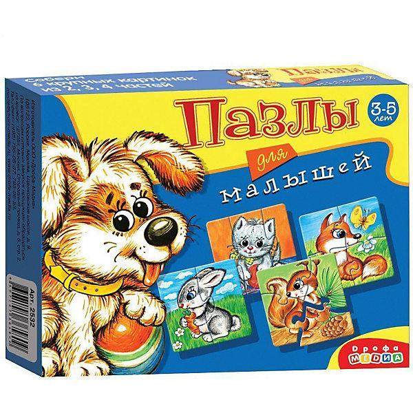 Пазлы для малышей, Дрофа-МедиаПазлы для малышей<br>Пазл для малышей прекрасно подходит для первого знакомства малыша с мозаикой, способствует формированию навыка соединения целого изображения из двух, трёх и четырех элементов. В игре набор из шести изображений животных (собака, заяц, белка, кошка, лисичка и ежик), состоящих из крупных деталей, которые соединяются с помощью пазлового замка. Игры этой серии помогают в развитии зрительного восприятия, мелкой моторики и координации движений рук, наглядно-образного мышления, памяти и внимания.<br><br>Дополнительная информация:<br><br>- материал: картон<br>- количество картинок: 6 шт -  (из 2-х, 3-х, 4-х частей)<br>- размер упаковки: 17х13х3  см<br>- масса: 82 г<br><br>Пазлы для малышей (2532), Дрофа-Медиа можно купить в нашем магазине.<br>Ширина мм: 170; Глубина мм: 130; Высота мм: 30; Вес г: 90; Возраст от месяцев: 36; Возраст до месяцев: 84; Пол: Унисекс; Возраст: Детский; SKU: 3381971;