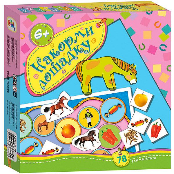 Игротека Накорми лошадку, Дрофа-МедиаКниги для развития мышления<br>Игротека Накорми лошадку . В игре 5 фигурок лошадей также из очень плотного картона, 60 маленьких квадратных (2.5х2.5 см) карточек с изображениями еды для лошадок ( яблоки, морковка, конфеты, овес и сено - по 12 штук каждого вида) и пазл с изображением скачущей лошадки из 12 кусочков размером примерно 3х3 см. <br>Перед началом игры игроки выбирают себе лошадок и договариваются, кто какие карточки с изображением еды будет собирать. Игроки ходят по очереди, передвигая свою лошадку по полю по часовой стрелке, и в зависимости от того, напротив какой картинки на поле она остановилась, выполняют те или иные действия - забирает себе карточку с собираемым им видом еды, или пропускает ход, или кладет на нужное место очередной кусочек пазла (если она собирается сообща - возможен также вариант, когда один из игроков становится жокеем и тогда только он и собирает пазл), или возвращает карточку. Количество шагов для продвижения определяют игроки, предварительно перед каждым ходом показывая произвольное количество пальцев одной руки и подсчитывая общее их количество. <br>Выигрывает собравший все свои 12 карточек с изображением еды или игра останавливается , как только полностью собран пазл с лошадью.<br>Во втором предложенном варианте игры немного изменены правила сбора карточек с едой.<br>Игра развивает внимание, наблюдательность, учит анализировать ситуацию, логически мыслить, находить лучший вариант хода из нескольких возможных. <br><br>Дополнительная информация: <br><br>- Количество элементов: 78<br>- Количество игроков: 2-6<br>- Материал: бумага, картон<br>- Масса: 154 г<br>- Размеры: 200x190x28 мм<br><br>Игротеку Накорми лошадку, Дрофа-Медиа можно купить в нашем магазине.<br>Ширина мм: 190; Глубина мм: 200; Высота мм: 30; Вес г: 165; Возраст от месяцев: 72; Возраст до месяцев: 84; Пол: Унисекс; Возраст: Детский; SKU: 3381981;