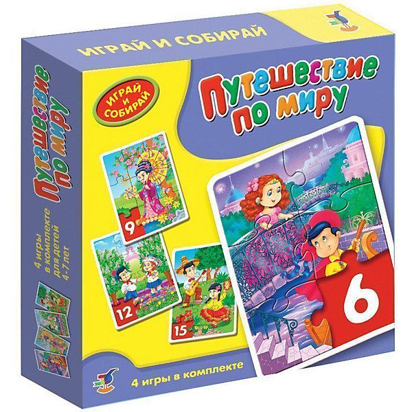 Игра Путешествие по миру, Дрофа-МедиаПазлы для малышей<br>Игра-мозаика  Путешествие по миру учит детей собирать простые картинки, подбирать детали по форме и изображению, способствуют развитию наблюдательности, внимания, наглядно-образного мышления, усидчивости, мелкой моторики рук.<br><br>Дополнительная информация:<br><br>- В игре 4 мозаики, состоящие из 6, 9, 12, 15 элементов.<br>- масса: 200 г<br>- размеры: 190x180x38  мм<br>- материалы: бумага, картон.<br><br>Игру Путешествие по миру можно купить в нашем магазине.<br>Ширина мм: 180; Глубина мм: 182; Высота мм: 38; Вес г: 210; Возраст от месяцев: 48; Возраст до месяцев: 84; Пол: Унисекс; Возраст: Детский; SKU: 3381986;