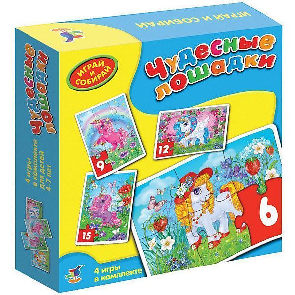 Игра Чудесные лошадки, Дрофа-МедиаПазлы для малышей<br>Игра-мозаика  Чудесные лошадки учит детей собирать простые картинки, подбирать детали по форме и изображению, способствуют развитию наблюдательности, внимания, наглядно-образного мышления, усидчивости, мелкой моторики рук.<br><br>Дополнительная информация:<br><br>- В игре 4 мозаики, состоящие из 6, 9, 12, 15 элементов.<br>- масса: 200 г<br>- размеры: 182x178x38 мм<br>- материалы: бумага, картон.<br><br>Игру Чудесные лошадки можно купить в нашем магазине.<br>Ширина мм: 180; Глубина мм: 182; Высота мм: 38; Вес г: 220; Возраст от месяцев: 48; Возраст до месяцев: 84; Пол: Унисекс; Возраст: Детский; SKU: 3381987;