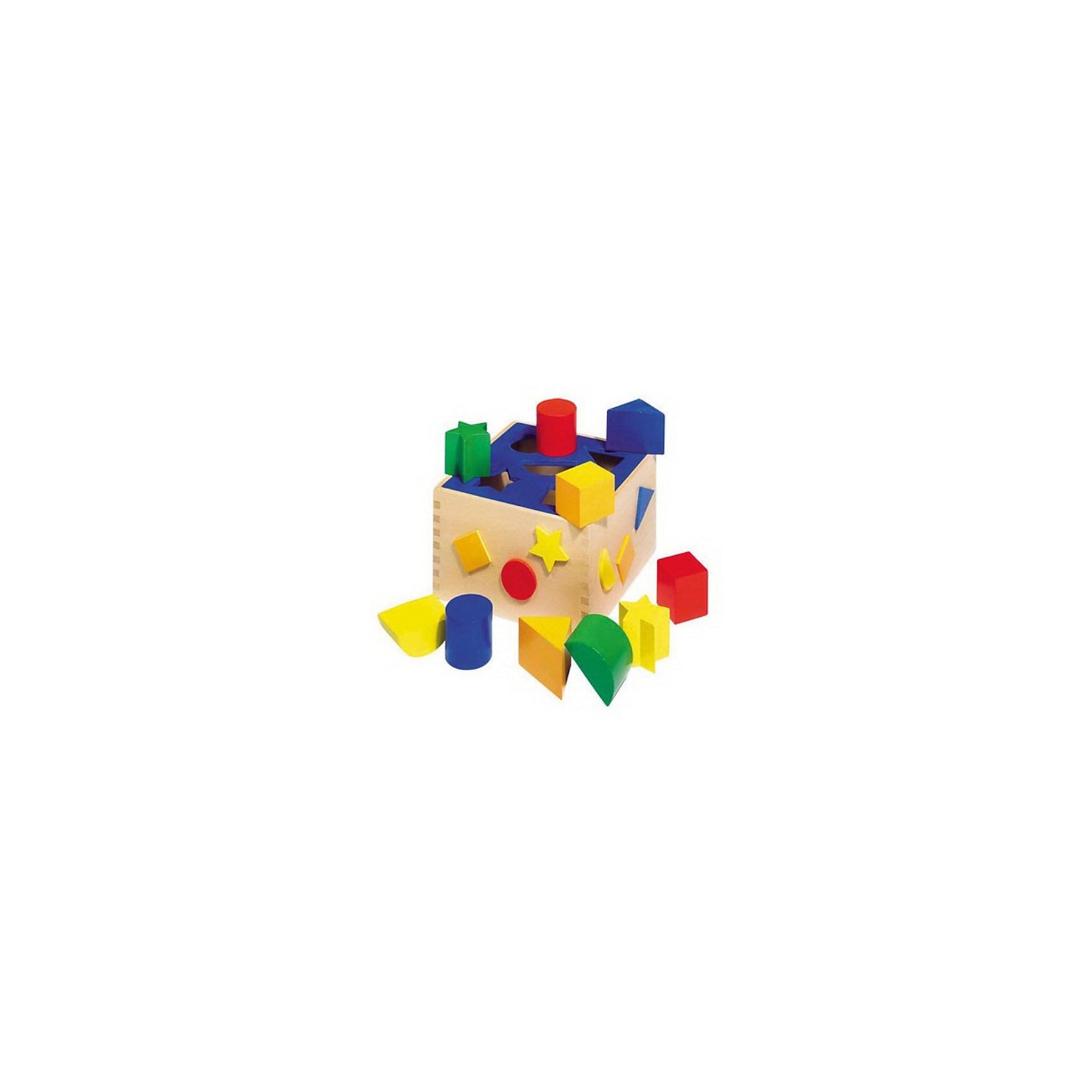 Сортировщик, gokiДеревянные игрушки<br>Сортировщик GOKI представляет собой деревянный ящичек со съемной синей крышкой. В крышечке имеются отверстия для различных фигур: треугольника, цилиндра, прямоугольника, звездочки и полукруга. У каждой фигуры есть пара другого цвета. <br> <br>Вашему ребенку предстоит подобрать для каждой фигурки нужное отверстие и бросить ее в ящичек. Таким образом малыш выучит основные формы и цвета предметов.<br><br>На боковинах ящичка также наклеены разноцветные геометрические фигуры. В ящике можно хранить фигурки и другие игрушки. <br><br>В процессе игры ребенок развивает логику, пространственное мышление, мелкую моторику пальцев и рук, знакомится с понятиями цвета и формы.<br><br><br>Дополнительная информация:<br><br>- Материал: дерево<br>- Вес: 766 г<br>- Размер игрушки: 16 х 16 х 10 см <br>- Размер упаковки: 17 х 17 х 10,5 см<br><br>Сортировщик фигур GOKI можно купить в нашем интернет-магазине.<br><br>Ширина мм: 160<br>Глубина мм: 160<br>Высота мм: 100<br>Вес г: 820<br>Возраст от месяцев: 12<br>Возраст до месяцев: 36<br>Пол: Унисекс<br>Возраст: Детский<br>SKU: 3383208