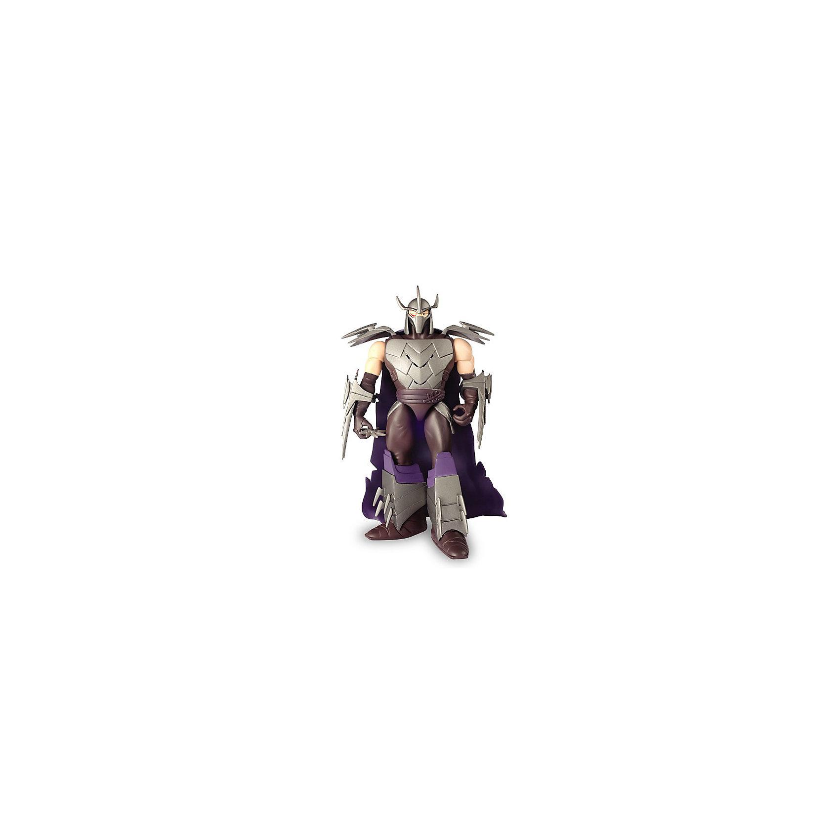 Фигурка Шреддер со звуком, 15 см, Черепашки НиндзяФигурка «Черепашка - ниндзя» Шредер (15см  со звуковыми эффектами, отрицательный персонаж). Все фигурки «Черепашек - ниндзя» «звуковой серии» озвучены актерами, чей голос мы слышали в мультипликационном сериале «Черепашки - ниндзя» 2012 г., что делает игру максимально реалистичной.<br>Шреддер – недружелюбный  мастер-ниндзя по имени Ороку Саки, который стоит во главе клана Фут. Противник Сплинтера и «Черепашек-ниндзя».<br>Чтобы активировать звуковые эффекты,  необходимо потянуть за руку или ногу фигурки (фразы на английском языке).<br>При игре с фигуркой  «Черепашки-ниндзя» Шредер во взаимодействии с другими персонажами мультфильма, у вашего ребенка активно развивается воображение, слух, мелкая моторика, формируются навыки ролевой игры, навык воспроизведения сцен из мультфильма. Одновременно игрушка примет участие в развитии речи с интонационным рисунком.  <br><br>Игра-манипуляция фигурками  способствует развитию положительных качеств у ребенка:<br>- понимание разницы между добром и злом<br>- усидчивость, внимательность<br>- чувство справедливости<br><br>Выбери, на чьей ты стороне!<br><br>Дополнительная информация:<br><br>- В комплекте: фигурка Шредер<br>- Размер фигурки 15 см.<br>- Размер упаковки (Ш х В х Г): 19 х 30 х 8 см.<br>- Материал: пластик<br>- Батарейки: 3 батарейки типа таблетка - LR44/AG13 (в комплекте)<br>- Вес: 0,383 кг.<br><br>Фигурку «Черепашки Ниндзя, Шредер, со звуком» (Ninja Turtles) можно купить в нашем интернет-магазине.<br><br>Ширина мм: 190<br>Глубина мм: 80<br>Высота мм: 305<br>Вес г: 437<br>Возраст от месяцев: 48<br>Возраст до месяцев: 132<br>Пол: Мужской<br>Возраст: Детский<br>SKU: 3384054