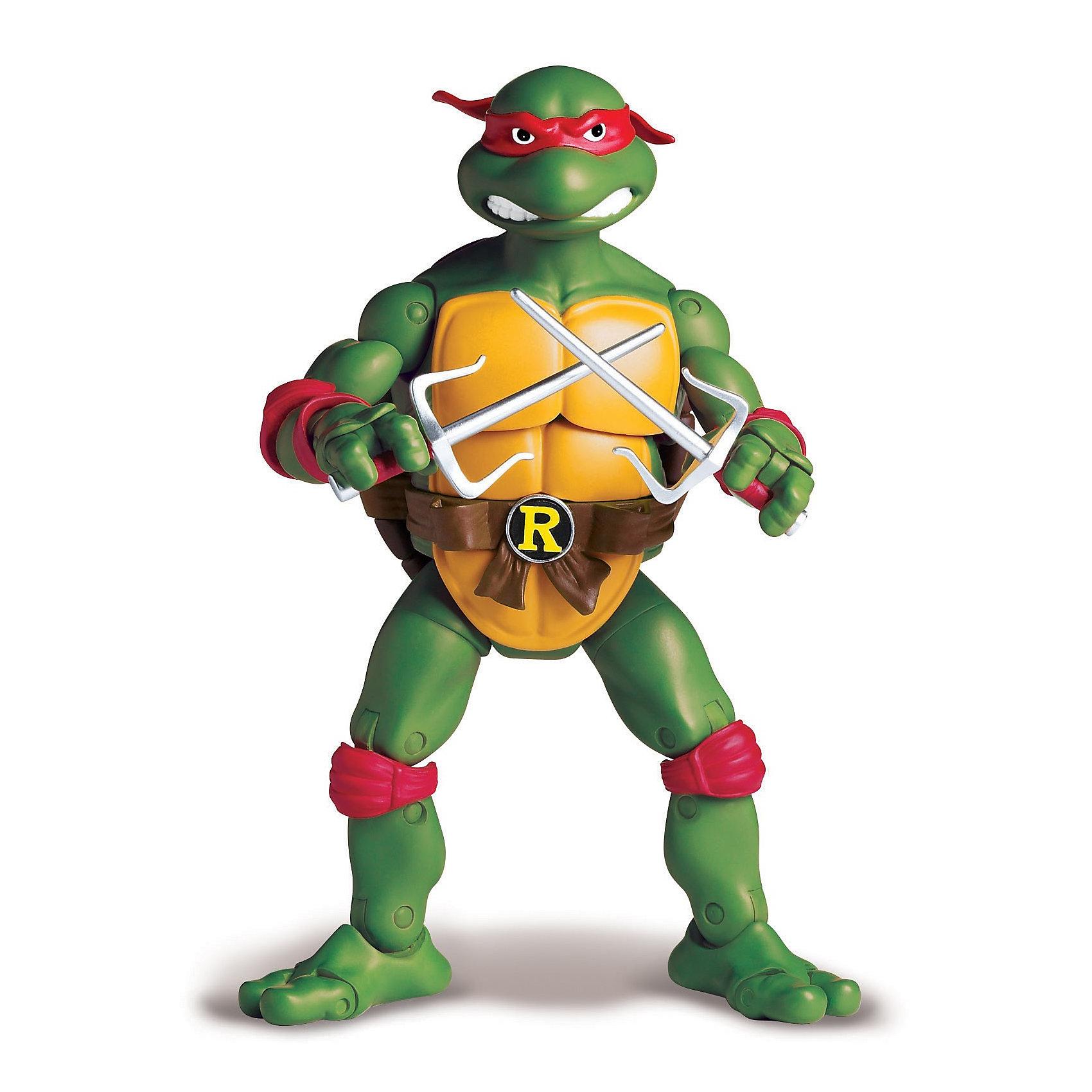 Фигурка Рафаэль,15 см, Черепашки НиндзяФигурки героев<br>Фигурка «Черепашки – ниндзя» Рафаэль из классической серии выполнена на основе макетов мультсериала 1987 года.<br>«Черепашка – ниндзя» Рафаэль – в ранних комиксах изображался как активный и подозрительный ниндзя, ревнующий к лидерству Леонардо, что в некотором смысле осталось и в мультфильмах 2003 и 2007 годов.<br>В мультсериалах и последующих работах характер Рафаэля изменился.<br>Авторы придали ему наклонности философа и своеобразное чувство юмора, которое он проявляет, комментируя происходящее в парадоксальной манере.<br>Игрушка уникальна, так как  ниндзя Рафаэль 100%  реалистичен.<br>Игрушка-фигурка «Черепашки - ниндзя» Рафаэль развивает воображение,  мелкую моторику, формирует навыки ролевой игры, умение воспроизводить запомнившиеся события мультфильма.<br>Одновременно развивается внутренняя речь.  Ребенок будет играть, подражая действиям отважного героя сериала.<br><br>Игра будет способствовать развитию таких личностных качеств, как:<br>- смелость<br>- доброта<br>- умение дружить и общаться<br><br>Фигурка «Черепашки – ниндзя» Рафаэль полностью подвижна (37 подвижных деталей), что позволяет при игре фиксировать нужное положение фигурки. Именно этого ждет ваш ребенок, когда берет в руки любимого реалистичного героя.<br><br>Дополнительная информация:<br><br>- В комплекте: фигурка  Черепашки-ниндзя Рафаэль, коллекционный люк, оружие Рафаэля кинжал - Сай.<br>- Размер фигурки 15 см.<br>- Размер упаковки (Ш х В х Г): 19 х 30 х 8 см.<br>- Материал: пластик<br>- Батарейки: не требуются, электронных эффектов нет.<br>- Вес: 0,413 кг.<br><br>Фигурку «Черепашки Ниндзя Рафаэль» (Ninja Turtles) можно купить в нашем интернет-магазине.<br><br>Ширина мм: 190<br>Глубина мм: 70<br>Высота мм: 305<br>Вес г: 413<br>Возраст от месяцев: 48<br>Возраст до месяцев: 132<br>Пол: Мужской<br>Возраст: Детский<br>SKU: 3384057