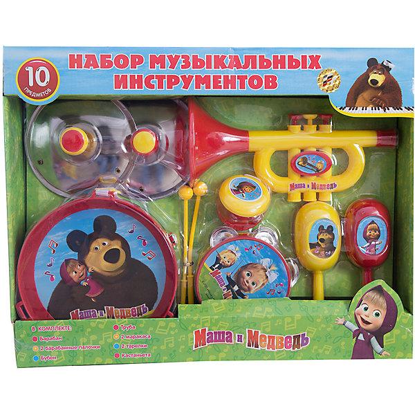 Набор музыкальных инструментов, 10 предметов, Маша и МедведьИгрушки<br>Набор музыкальных инструментов, 10 предметов, Маша и Медведь<br><br>Характеристики:<br><br>• изготовлены из прочного пластика<br>• яркий дизайн с любимыми героями мультфильма Маша и Медведь<br>• в комплекте: бубен, труба, барабан, 2 барабанные палочки, 2 тарелки, 2 маракаса, кастаньеты<br>• материал: пластик<br>• размер упаковки: 44х35х13 см<br>• вес: 815 грамм<br>• диаметр барабана: 17 см<br>• диаметр бубна: 10,5 см<br><br>В наборе Маша и Медведь каждый ребенок сможет найти свой любимый музыкальный инструмент. В набор входят маракасы, бубен, труба, барабан, тарелки и даже кастаньеты. Можно учиться играть самому или организовать с друзьями настоящий оркестр. С этим набором ребенок сможет создать отличное музыкальное сопровождение семейного вечера!<br><br>Набор музыкальных инструментов, 10 предметов, Маша и Медведь вы можете купить в нашем интернет-магазине.<br>Ширина мм: 340; Глубина мм: 440; Высота мм: 110; Вес г: 2267; Возраст от месяцев: 36; Возраст до месяцев: 144; Пол: Унисекс; Возраст: Детский; SKU: 3384111;
