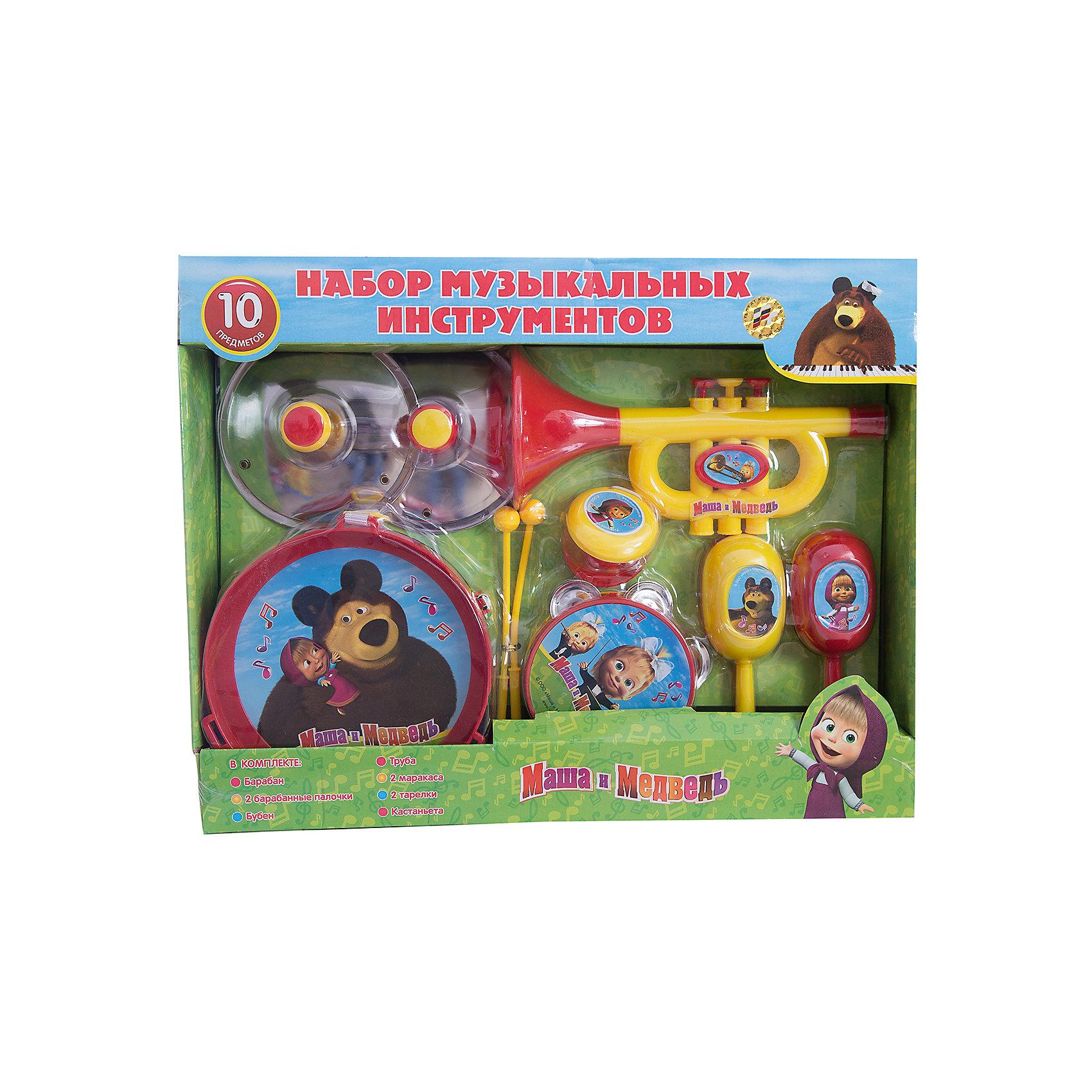 Набор музыкальных инструментов, 10 предметов, Маша и МедведьИгрушки<br>Набор музыкальных инструментов, 10 предметов, Маша и Медведь<br><br>Характеристики:<br><br>• изготовлены из прочного пластика<br>• яркий дизайн с любимыми героями мультфильма Маша и Медведь<br>• в комплекте: бубен, труба, барабан, 2 барабанные палочки, 2 тарелки, 2 маракаса, кастаньеты<br>• материал: пластик<br>• размер упаковки: 44х35х13 см<br>• вес: 815 грамм<br>• диаметр барабана: 17 см<br>• диаметр бубна: 10,5 см<br><br>В наборе Маша и Медведь каждый ребенок сможет найти свой любимый музыкальный инструмент. В набор входят маракасы, бубен, труба, барабан, тарелки и даже кастаньеты. Можно учиться играть самому или организовать с друзьями настоящий оркестр. С этим набором ребенок сможет создать отличное музыкальное сопровождение семейного вечера!<br><br>Набор музыкальных инструментов, 10 предметов, Маша и Медведь вы можете купить в нашем интернет-магазине.<br><br>Ширина мм: 340<br>Глубина мм: 440<br>Высота мм: 110<br>Вес г: 2267<br>Возраст от месяцев: 36<br>Возраст до месяцев: 144<br>Пол: Унисекс<br>Возраст: Детский<br>SKU: 3384111