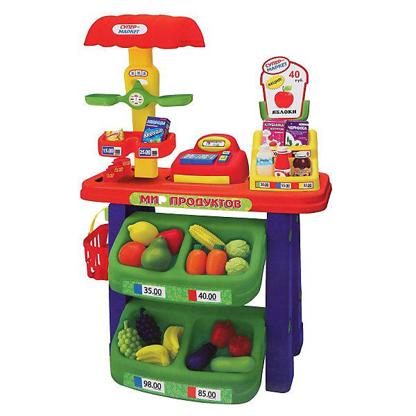 Супермаркет (касса, весы, продукты), Играем вместеДетский супермаркет<br>Супермаркет (касса, весы, продукты), Играем вместе - увлекательная сюжетно-ролевая игра, которая понравится Вашему ребенку.<br><br>В набор входит все необходимое для игры в магазин: стеллаж с «продуктами», корзинка покупателя, весы и касса. <br><br>Во время игры в супермаркет ребенок примеряет на себя различные социальные роли, развивает коммуникативные навыки, учится счету. Кроме того, данная игрушка способствует развитию воображения и фантазии Вашего ребенка.<br><br>Дополнительная информация:<br><br>- В набор входит: стеллаж, весы, касса, корзинка для продуктов, набор продуктов.<br>- Размер игрушки (высота стеллажа)  60 см. <br>- Материалы: пластмасса.<br><br>Супермаркет (касса, весы, продукты), Играем вместе можно купить в нашем интернет-магазине.<br>Ширина мм: 140; Глубина мм: 530; Высота мм: 600; Вес г: 7500; Возраст от месяцев: 36; Возраст до месяцев: 144; Пол: Унисекс; Возраст: Детский; SKU: 3384117;
