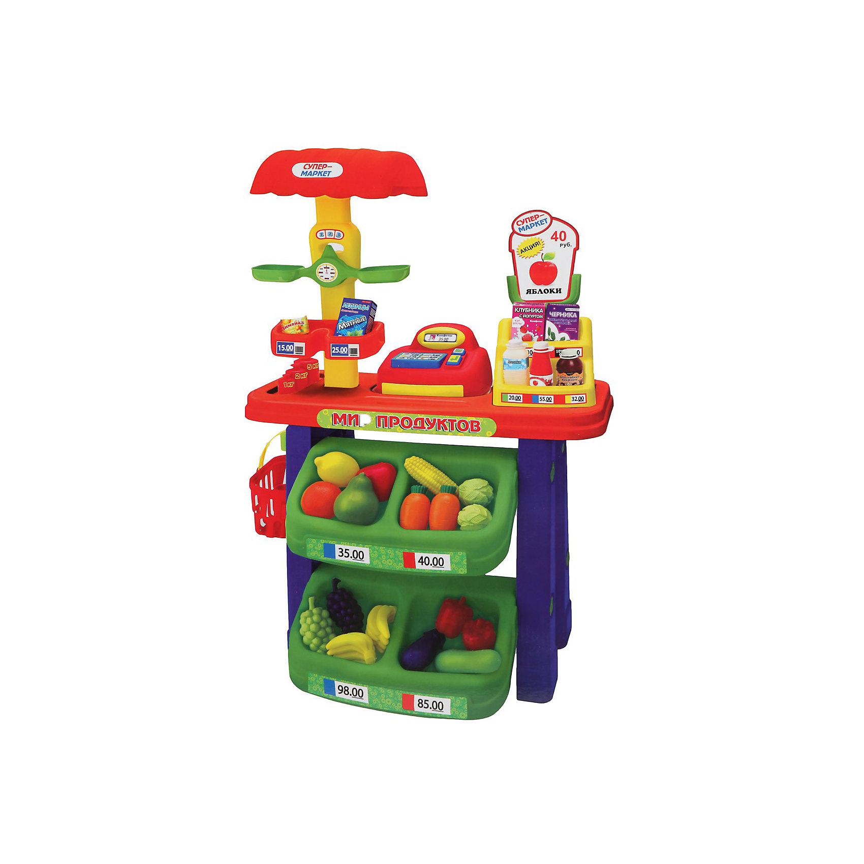 Супермаркет (касса, весы, продукты), Играем вместеСупермаркет (касса, весы, продукты), Играем вместе - увлекательная сюжетно-ролевая игра, которая понравится Вашему ребенку.<br><br>В набор входит все необходимое для игры в магазин: стеллаж с «продуктами», корзинка покупателя, весы и касса. <br><br>Во время игры в супермаркет ребенок примеряет на себя различные социальные роли, развивает коммуникативные навыки, учится счету. Кроме того, данная игрушка способствует развитию воображения и фантазии Вашего ребенка.<br><br>Дополнительная информация:<br><br>- В набор входит: стеллаж, весы, касса, корзинка для продуктов, набор продуктов.<br>- Размер игрушки (высота стеллажа)  60 см. <br>- Материалы: пластмасса.<br><br>Супермаркет (касса, весы, продукты), Играем вместе можно купить в нашем интернет-магазине.<br><br>Ширина мм: 140<br>Глубина мм: 530<br>Высота мм: 600<br>Вес г: 7500<br>Возраст от месяцев: 36<br>Возраст до месяцев: 144<br>Пол: Унисекс<br>Возраст: Детский<br>SKU: 3384117