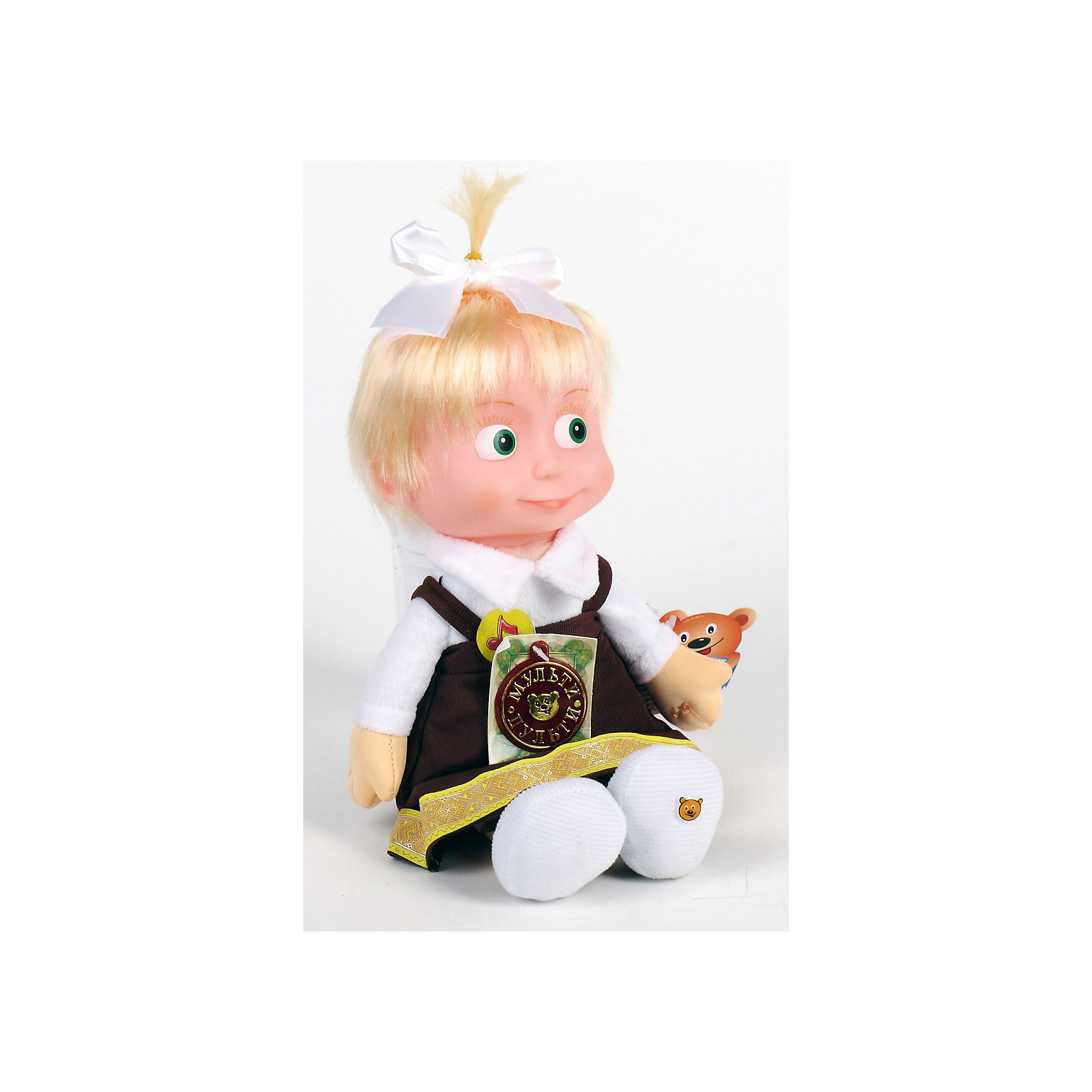 Мягкая  кукла  Маша, Маша и Медведь, МУЛЬТИ-ПУЛЬТИИгрушки<br>Всем юным поклонникам сериала Маша и медведь наверняка понравится эта замечательная игрушка. Маша - озорная девочка, которая дружит с мишкой и часто попадает в забавные ситуации. Внешний вид куколки полностью соответствует своему мультперсонажу. Маша представлена в образе школьницы: длинный коричневый сарафан, белая блузка, на голове хвостик с белым бантиком. Кукла обладает звуковыми эффектами: произносит 5 фраз и поет песенку голосом своего персонажа из мультфильма.<br><br>Дополнительная информация:<br><br>- Материал: лицо: пластизоль, туловище: искусственный мех, ткань, набивка: полиэфирное волокно.<br>- Требуются батарейки: 3* LR44 (входят в комплект).<br>- Размер: 29 см.<br>- Вес: 0,25 кг.<br><br><br>Мягкую игрушку куклу Машу из мультфильма Маша и медведь можно купить в нашем магазине.<br><br>Ширина мм: 90<br>Глубина мм: 410<br>Высота мм: 210<br>Вес г: 250<br>Возраст от месяцев: 24<br>Возраст до месяцев: 1188<br>Пол: Унисекс<br>Возраст: Детский<br>SKU: 3384130
