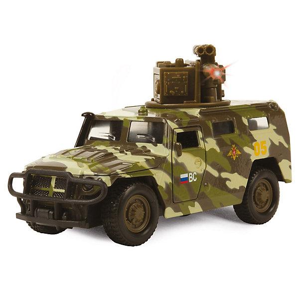 Машина ГАЗ Тигр, 1:43, со светом и звуком, ТЕХНОПАРКВоенный транспорт<br>Характеристики:<br><br>• тип игрушки: машина;<br>• возраст: от 3 лет;<br>• размер: 16х7х19 см;<br>• цвет: зеленый;<br>• тип батареек:  LR41 х 3;<br>• наличие батареек: не входят в комплект;<br>• масштаб: 1:43;<br>• материал: пластик;<br>• бренд: Технопарк;<br>• страна производителя: Китай.<br><br>Машина Технопарк «Газ Тигр» -  с функциональными дверьми и капотом, выглядит совсем как настоящая и в точности повторяет реальный военный прототип. Машина порадует детей световыми эффектами имитирующими стрельбу и звуковыми, воспроизводящими стрельбу и другие фразы. Игрушка изготовлена из металла, поэтому прослужит владельцу не один год и станет отличным экспонатом коллекции.<br>Тематические игры с интересными сюжетами разбудят воображение ребёнка, а манипуляции с игрушкой потренируют мелкую моторику пальцев рук. Масштабные модели от компании «Технопарк» отличаются качественными ударопрочными материалами, продлевающими долговечность изделия тщательным исполнением со вниманием ко всем деталям, и имеют требуемые сертификаты соответствия для детских игрушек.<br>Машину Технопарк «Газ Тигр»  можно купить в нашем интернет-магазине.<br>Ширина мм: 70; Глубина мм: 190; Высота мм: 160; Вес г: 154; Возраст от месяцев: 36; Возраст до месяцев: 144; Пол: Мужской; Возраст: Детский; SKU: 3384163;