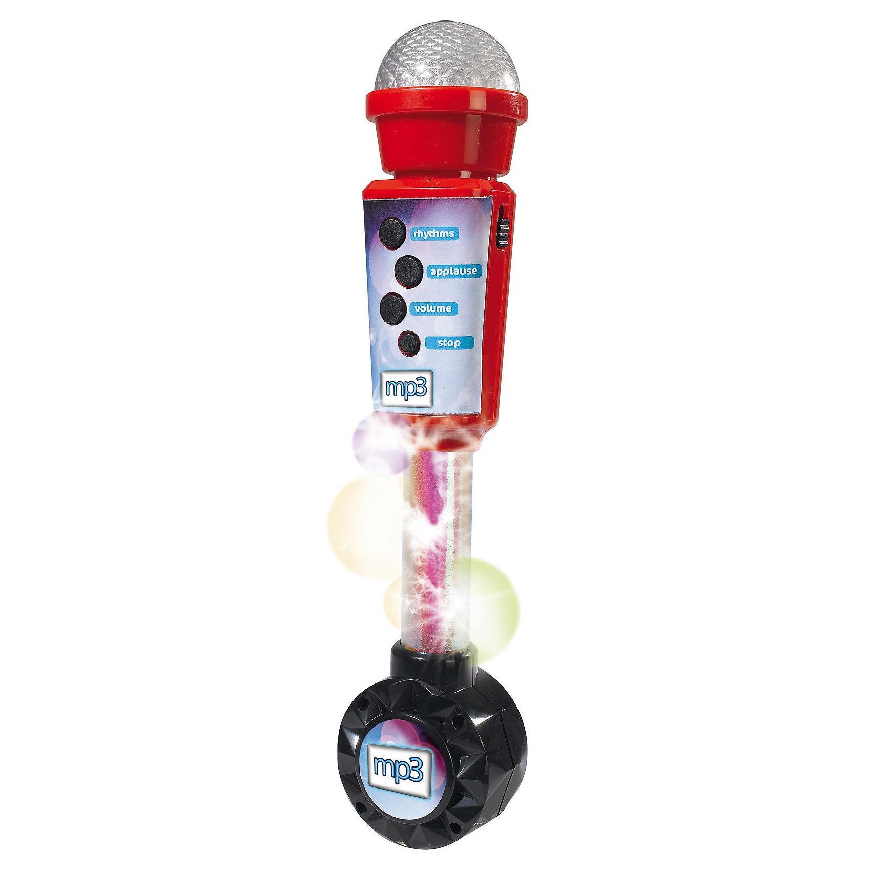 Микрофон совместимый с mp3, 4 ритма, 30 см, SimbaМузыкальные инструменты и игрушки<br>Характеристики:<br><br>• 4 встроенных ритма;<br>• возможность подключения к MP3 плееру;<br>• кнопка включения аплодисментов;<br>• регулируемая громкость;<br>• световые эффекты;<br>• высота микрофона: 30 см;<br>• батарейки: АА - 2 шт. (не входят в комплект); <br>• размер упаковки: 13х6х32 см;<br>• материал: пластик;<br>• страна бренда: Германия.<br><br>Многофункциональный микрофон - необходимый атрибут для каждого певца. Микрофон от Simba оснащен световыми эффектами, который сделают игру еще интереснее. Во время работы основание микрофона переливается яркими огоньками.<br><br>Микрофон имеет четыре встроенных ритма, воспроизводящихся друг за другом при нажатии на кнопку. При повторном нажатии ритм меняется на следующий. Кнопка аплодисментов порадует начинающего артиста. После каждой песни певец будет рад услышать одобрение зрителей.<br><br>Громкость микрофона можно регулировать при нажатии на кнопку. Есть возможность подключения к MP3 плееру, чтобы ребенок мог подпевать любимым песням и устраивать свои музыкальные представления. Для работы необходимы две батарейки АА (не входят в комплект).<br><br>Микрофон совместимый с mp3, 4 ритма, 30 см, Simba (Симба) можно купить в нашем интернет-магазине.<br><br>Ширина мм: 323<br>Глубина мм: 128<br>Высота мм: 61<br>Вес г: 273<br>Возраст от месяцев: 72<br>Возраст до месяцев: 2147483647<br>Пол: Унисекс<br>Возраст: Детский<br>SKU: 3387043