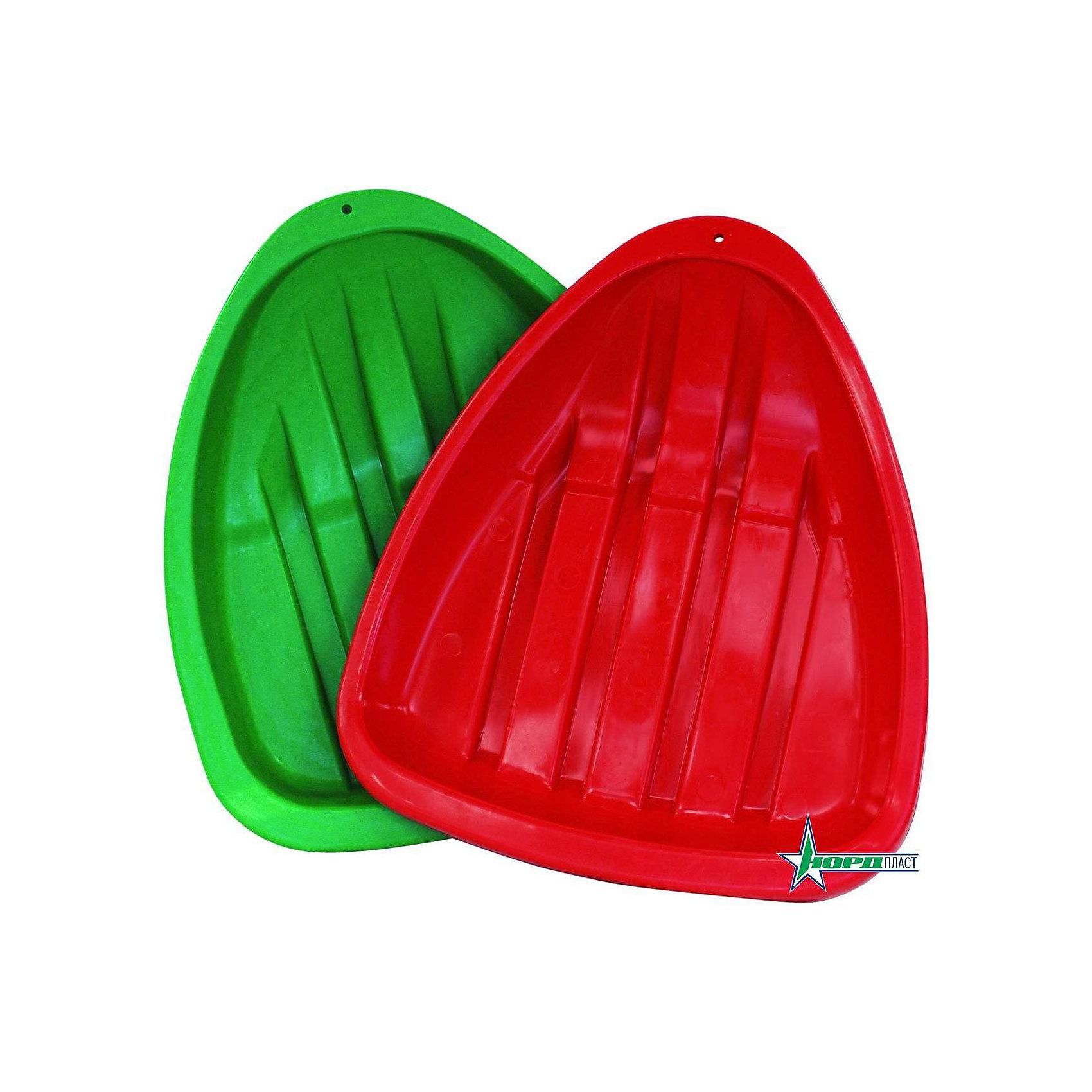 Ледянка, в ассортименте, НордпластЛедянки<br>Ледянка, NORDPLAST (Нордпласт) - незаменимый атрибут веселой зимы для Вашего ребенка! Ярки и удобные ледянки треугольной формы, предназначены для катания с ледяной горки.  С одной стороны санок-ледянок есть дырочка, чтобы можно было привязать веревочку для санок. Компания «Нордпласт» - крупнейший производитель детских пластмассовых игрушек. Ледянки, самые популярные зимние саночки, мало весят, стоят недорого, скользят ровно и быстро! <br><br>Дополнительная информация:<br><br>- Ледянки сделаны из прочного морозостойкого пластика; <br>- Кататься на ледянках можно при температуре до -40 градусов;<br>- Корпус салазок выполнен с рельефными полосками и имеет отверстие для веревочки;<br>- Размер ледянки: 43.5 х 37 см;<br>- Вес с упаковкой: 440 г.<br><br>ВНИМАНИЕ! Данный артикул имеется в наличии в разных цветовых исполнениях (красный, зеленый). К сожалению, заранее выбрать определенный цвет не возможно.<br><br>Ледянку, NORDPLAST (Нордпласт) можно купить в нашем интернет-магазине.<br><br>Ширина мм: 435<br>Глубина мм: 370<br>Высота мм: 80<br>Вес г: 440<br>Возраст от месяцев: 72<br>Возраст до месяцев: 168<br>Пол: Унисекс<br>Возраст: Детский<br>SKU: 3388628
