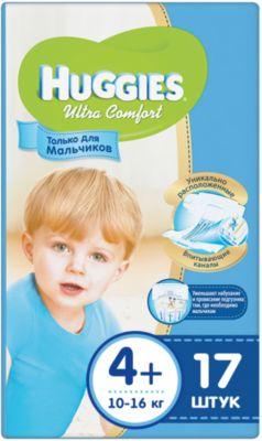 HUGGIES Подгузники Huggies Ultra Comfort 4+ для мальчиков, 10-16 кг, 17 шт.