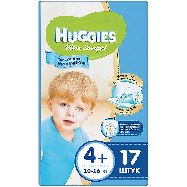 Подгузники Huggies Ultra Comfort 4+ для мальчиков, 10-16 кг, 17 шт.Подгузники классические<br>С первых дней жизни мальчики и девочки такие разные.<br><br>Новые подгузники Huggies Ultra Comfort созданы специально для мальчиков и специально для девочек. Для лучшего впитывания распределяющий слой в этих подгузниках расположен там, где это нужнее всего: по центру для девочек и выше для мальчиков. Huggies Ultra Comfort изготовлены из мягких материалов с микропорами, которые позволяют коже «дышать». Специальные тянущиеся застежки с закругленными краями надежно фиксируют подгузник, а широкий суперэластичный поясок позволяет малышам свободно двигаться.<br><br>Ключевые преимущества новых Huggies Ultra Comfort:<br><br>- Широкий суперэластичный поясок помогает надежно фиксировать подгузник по спинке малыша и защищать кожу от натирания<br>- Анатомическая форма. Изогнутые резиночки повторяют анатомическую форму подгузника, помогая защитить от натирания между ножками <br>- Ультра мягкий внутренний слой по всей длине подгузника оберегает кожу малыша.<br>- Специально разработанный слой Dry Touch впитывает за секунды и помогает запереть влагу внутри.<br>- Яркие эксклюзивные подгузники c дизайном от Disney подчеркивают индивидуальность маленьких модников и модниц.<br><br>Huggies Ultra Comfort для мальчиков и для девочек — потому что они такие разные.<br><br>Дополнительная информация:<br><br>Для мальчиков.<br>Размер: 4+, для малышей от 10 до 16 кг.<br>В упаковке: 17 шт.<br><br>Подгузники Huggies Ultra Comfort для мальчиков (4+) 10-16 кг, 17 шт. можно купить в нашем интернет-магазине.<br>Ширина мм: 220; Глубина мм: 170; Высота мм: 107; Вес г: 663; Возраст от месяцев: 6; Возраст до месяцев: 24; Пол: Мужской; Возраст: Детский; SKU: 3389821;