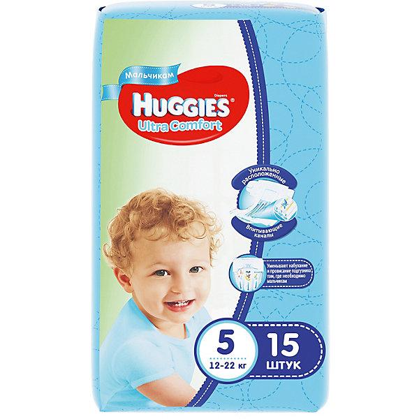 Подгузники Huggies Ultra Comfort 5 для мальчиков, 12-22 кг, 15 шт.Mickey Mouse Для малышей<br>С первых дней жизни мальчики и девочки такие разные.<br><br>Новые подгузники Huggies Ultra Comfort созданы специально для мальчиков и специально для девочек. Для лучшего впитывания распределяющий слой в этих подгузниках расположен там, где это нужнее всего: по центру для девочек и выше для мальчиков. Huggies Ultra Comfort изготовлены из мягких материалов с микропорами, которые позволяют коже «дышать». Специальные тянущиеся застежки с закругленными краями надежно фиксируют подгузник, а широкий суперэластичный поясок позволяет малышам свободно двигаться.<br><br>Ключевые преимущества новых Huggies Ultra Comfort:<br><br>- Широкий суперэластичный поясок помогает надежно фиксировать подгузник по спинке малыша и защищать кожу от натирания<br>- Анатомическая форма. Изогнутые резиночки повторяют анатомическую форму подгузника, помогая защитить от натирания между ножками <br>- Ультра мягкий внутренний слой по всей длине подгузника оберегает кожу малыша.<br>- Специально разработанный слой Dry Touch впитывает за секунды и помогает запереть влагу внутри.<br>- Яркие эксклюзивные подгузники c дизайном от Disney подчеркивают индивидуальность маленьких модников и модниц.<br><br>Huggies Ultra Comfort для мальчиков и для девочек — потому что они такие разные.<br><br>Дополнительная информация:<br><br>Для мальчиков.<br>Размер: 5, для малышей от 12 до 22 кг.<br>В упаковке: 15 шт.<br><br>Подгузники Huggies Ultra Comfort для мальчиков (5) 12-22 кг, 15 шт. можно купить в нашем интернет-магазине.<br><br>Ширина мм: 240<br>Глубина мм: 150<br>Высота мм: 107<br>Вес г: 630<br>Возраст от месяцев: 12<br>Возраст до месяцев: 84<br>Пол: Мужской<br>Возраст: Детский<br>SKU: 3389823