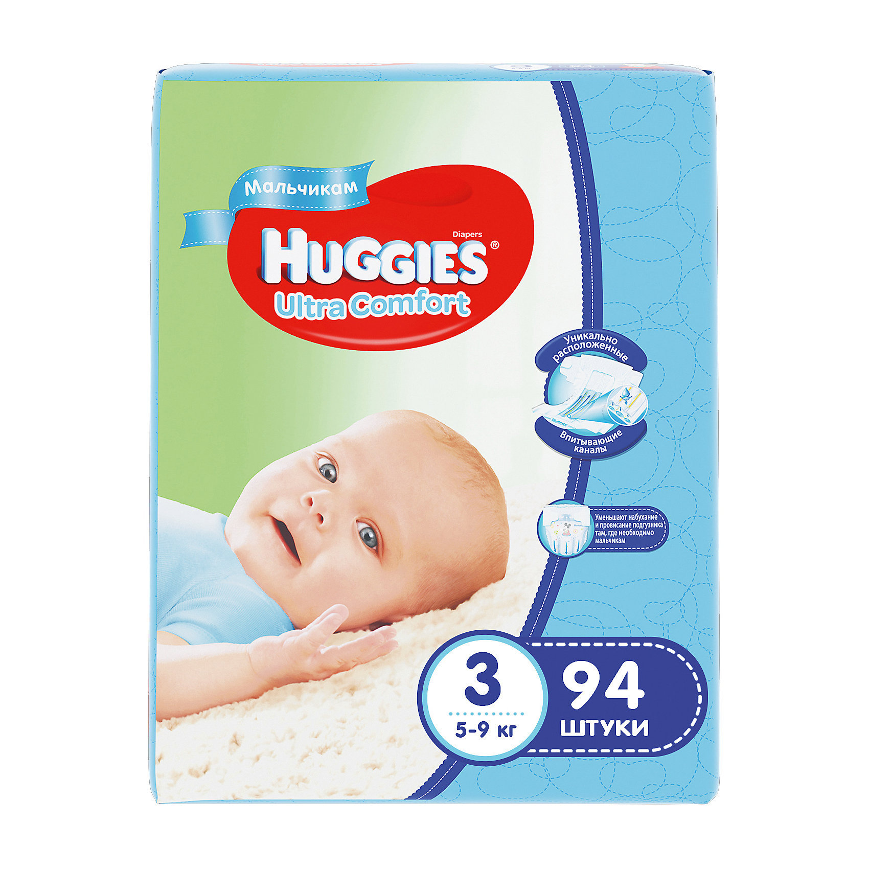 Подгузники Huggies Ultra Comfort 3 Giga Pack для мальчиков, 5-9 кг, 94 шт.Подгузники 0-5 кг<br>С первых дней жизни мальчики и девочки такие разные.<br><br>Новые подгузники Huggies Ultra Comfort созданы специально для мальчиков и специально для девочек. Для лучшего впитывания распределяющий слой в этих подгузниках расположен там, где это нужнее всего: по центру для девочек и выше для мальчиков. Huggies Ultra Comfort изготовлены из мягких материалов с микропорами, которые позволяют коже «дышать». Специальные тянущиеся застежки с закругленными краями надежно фиксируют подгузник, а широкий суперэластичный поясок позволяет малышам свободно двигаться.<br><br>Ключевые преимущества новых Huggies Ultra Comfort:<br><br>- Широкий суперэластичный поясок помогает надежно фиксировать подгузник по спинке малыша и защищать кожу от натирания<br>- Анатомическая форма. Изогнутые резиночки повторяют анатомическую форму подгузника, помогая защитить от натирания между ножками <br>- Ультра мягкий внутренний слой по всей длине подгузника оберегает кожу малыша.<br>- Специально разработанный слой Dry Touch впитывает за секунды и помогает запереть влагу внутри.<br>- Яркие эксклюзивные подгузники c дизайном от Disney подчеркивают индивидуальность маленьких модников и модниц.<br><br>Huggies Ultra Comfort для мальчиков и для девочек — потому что они такие разные.<br><br>Дополнительная информация:<br><br>Для мальчиков.<br>Размер: 3, для малышей от 5 до 9 кг.<br>В упаковке: 94 шт.<br><br>Подгузники Huggies Ultra Comfort для мальчиков Giga Pack (3) 5-9 кг, 94 шт. можно купить в нашем интернет-магазине.<br><br>Ширина мм: 410<br>Глубина мм: 405<br>Высота мм: 107<br>Вес г: 3008<br>Возраст от месяцев: 0<br>Возраст до месяцев: 9<br>Пол: Мужской<br>Возраст: Детский<br>SKU: 3389825