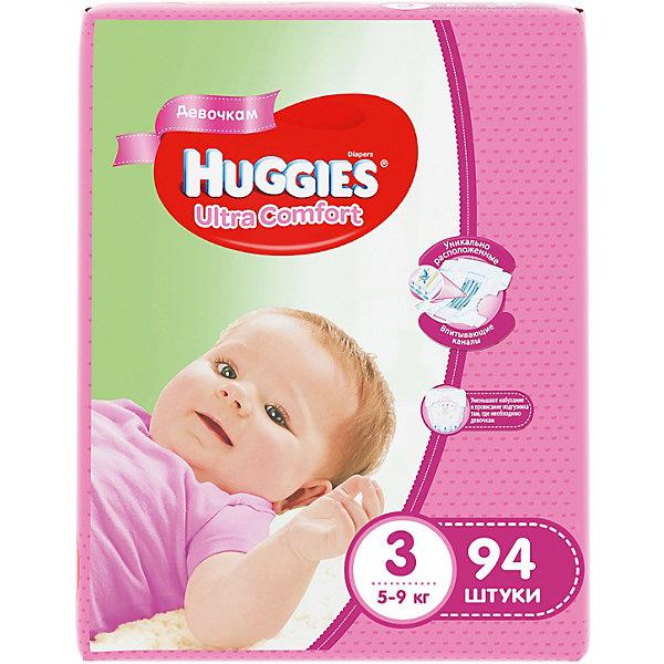 Подгузники Huggies Ultra Comfort 3 Giga Pack для девочек, 5-9 кг, 94 шт.Подгузники классические<br>С первых дней жизни мальчики и девочки такие разные.<br><br>Новые подгузники Huggies Ultra Comfort созданы специально для мальчиков и специально для девочек. Для лучшего впитывания распределяющий слой в этих подгузниках расположен там, где это нужнее всего: по центру для девочек и выше для мальчиков. Huggies Ultra Comfort изготовлены из мягких материалов с микропорами, которые позволяют коже «дышать». Специальные тянущиеся застежки с закругленными краями надежно фиксируют подгузник, а широкий суперэластичный поясок позволяет малышам свободно двигаться.<br><br>Ключевые преимущества новых Huggies Ultra Comfort:<br><br>- Широкий суперэластичный поясок помогает надежно фиксировать подгузник по спинке малыша и защищать кожу от натирания<br>- Анатомическая форма. Изогнутые резиночки повторяют анатомическую форму подгузника, помогая защитить от натирания между ножками <br>- Ультра мягкий внутренний слой по всей длине подгузника оберегает кожу малыша.<br>- Специально разработанный слой Dry Touch впитывает за секунды и помогает запереть влагу внутри.<br>- Яркие эксклюзивные подгузники c дизайном от Disney подчеркивают индивидуальность маленьких модников и модниц.<br><br>Huggies Ultra Comfort для мальчиков и для девочек — потому что они такие разные.<br><br>Дополнительная информация:<br><br>Для девочек.<br>Размер: 3, для малышей от 5 до 9 кг.<br>В упаковке: 94 шт.<br><br>Подгузники Huggies Ultra Comfort для девочек Giga Pack (3) 5-9 кг, 94 шт. можно купить в нашем интернет-магазине.<br>Ширина мм: 410; Глубина мм: 405; Высота мм: 107; Вес г: 3008; Возраст от месяцев: 0; Возраст до месяцев: 9; Пол: Женский; Возраст: Детский; SKU: 3389826;