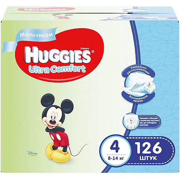 Подгузники Huggies Ultra Comfort 4 Disney Box для мальчиков, 8-14 кг, 126 шт. (42х3)Mickey Mouse Для малышей<br>С первых дней жизни мальчики и девочки такие разные.<br><br>Новые подгузники Huggies Ultra Comfort созданы специально для мальчиков и специально для девочек. Для лучшего впитывания распределяющий слой в этих подгузниках расположен там, где это нужнее всего: по центру для девочек и выше для мальчиков. Huggies Ultra Comfort изготовлены из мягких материалов с микропорами, которые позволяют коже «дышать». Специальные тянущиеся застежки с закругленными краями надежно фиксируют подгузник, а широкий суперэластичный поясок позволяет малышам свободно двигаться.<br><br>Ключевые преимущества новых Huggies Ultra Comfort:<br><br>- Широкий суперэластичный поясок помогает надежно фиксировать подгузник по спинке малыша и защищать кожу от натирания<br>- Анатомическая форма. Изогнутые резиночки повторяют анатомическую форму подгузника, помогая защитить от натирания между ножками <br>- Ультра мягкий внутренний слой по всей длине подгузника оберегает кожу малыша.<br>- Специально разработанный слой Dry Touch впитывает за секунды и помогает запереть влагу внутри.<br>- Яркие эксклюзивные подгузники c дизайном от Disney подчеркивают индивидуальность маленьких модников и модниц.<br><br>Huggies Ultra Comfort для мальчиков и для девочек — потому что они такие разные.<br><br>Дополнительная информация:<br><br>Для мальчиков.<br>Размер: 4, для малышей от 8 до 14 кг.<br>В упаковке: 126 шт.<br><br>Подгузники Huggies Ultra Comfort для мальчиков Disney Box (4) 8-14 кг, 126 шт. (42х3) можно купить в нашем интернет-магазине.<br>Ширина мм: 402; Глубина мм: 242; Высота мм: 340; Вес г: 4788; Возраст от месяцев: 6; Возраст до месяцев: 24; Пол: Мужской; Возраст: Детский; SKU: 3389827;